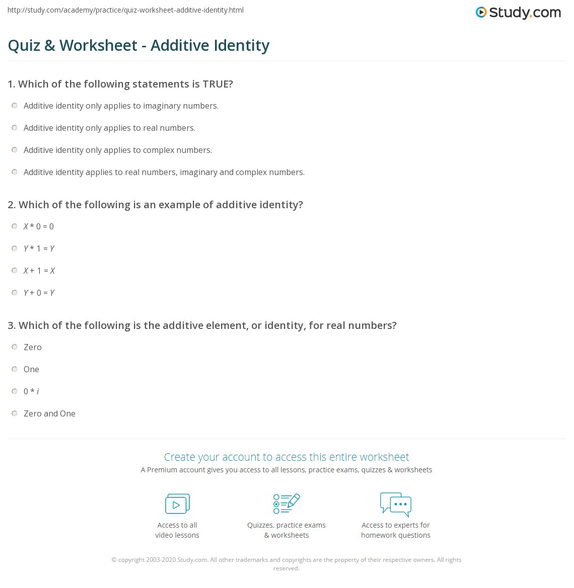 worksheet Imaginary Numbers Worksheet quiz worksheet additive identity study com print definition examples worksheet