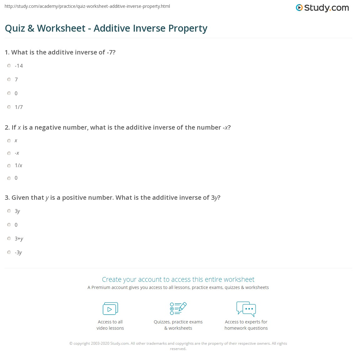 Quiz Worksheet Additive Inverse Property Study