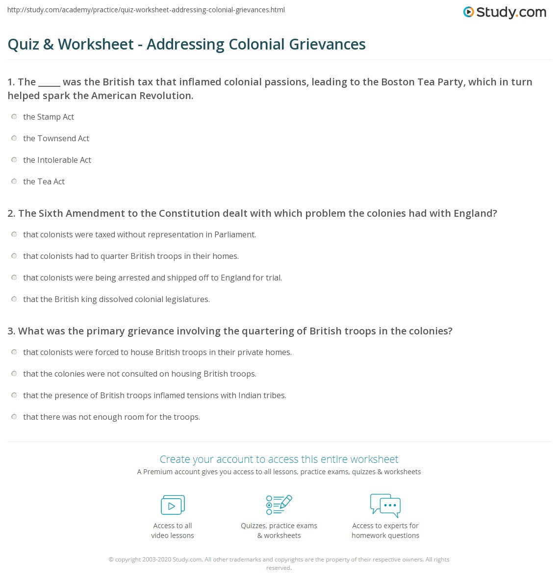 Quiz Worksheet Addressing Colonial Grievances Study Com