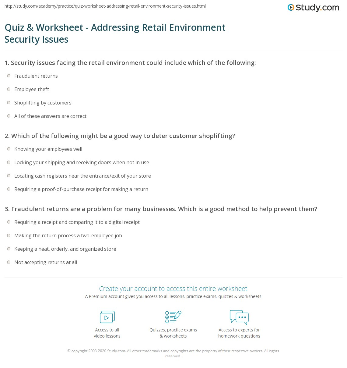 quiz worksheet addressing retail environment security issues. Black Bedroom Furniture Sets. Home Design Ideas