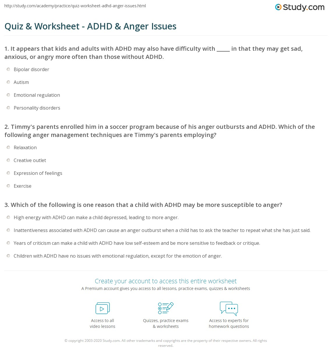 Emotional Regulation For Kids With Adhd >> Quiz Worksheet Adhd Anger Issues Study Com