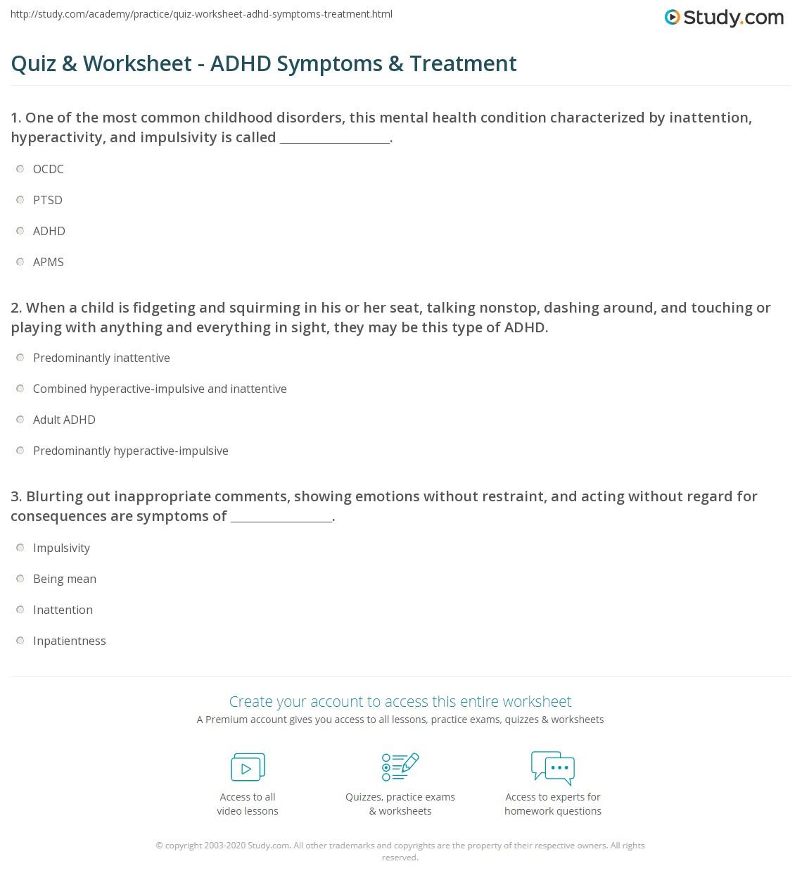Workbooks worksheets for adhd : Quiz & Worksheet - ADHD Symptoms & Treatment | Study.com