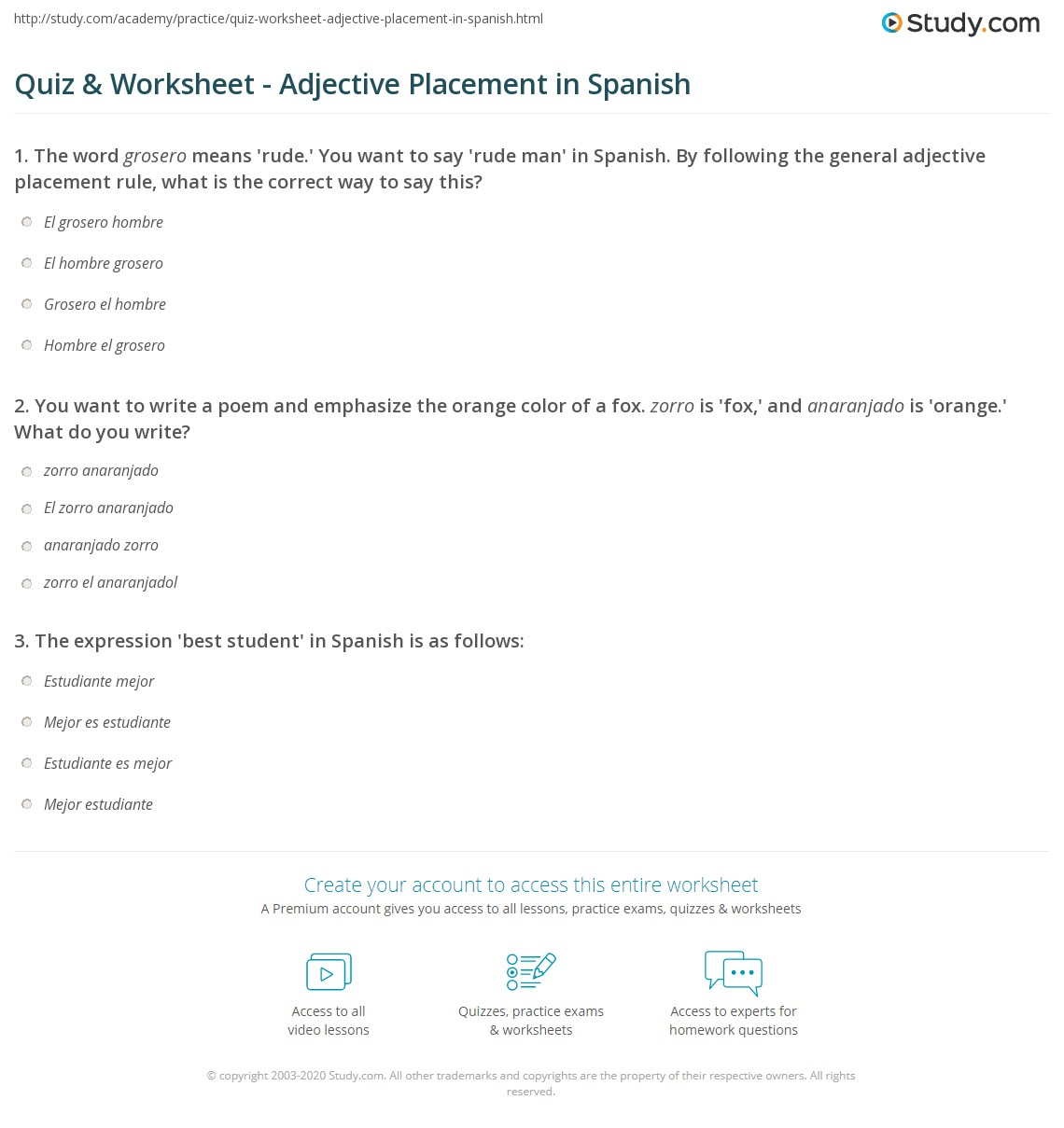 Quiz & Worksheet - Adjective Placement in Spanish | Study.com