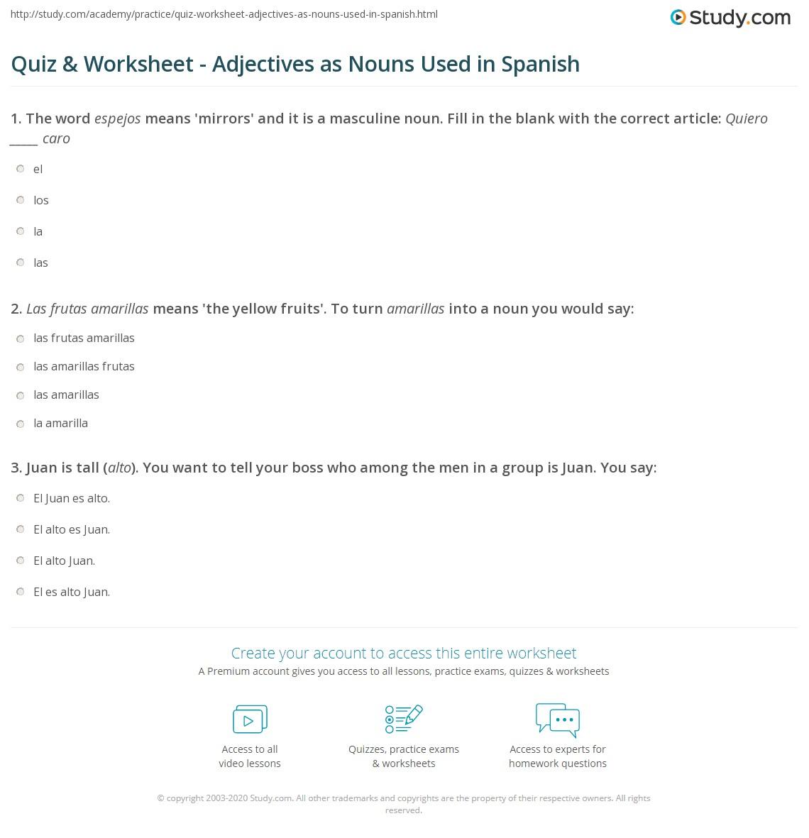 worksheet Nouns Used As Adjectives Worksheet quiz worksheet adjectives as nouns used in spanish study com print using worksheet