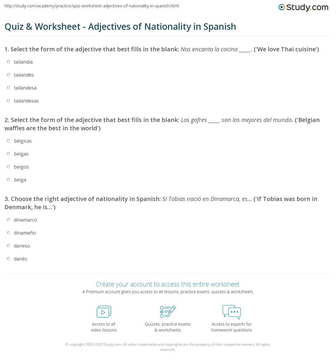 Quiz & Worksheet - Adjectives of Nationality in Spanish ...