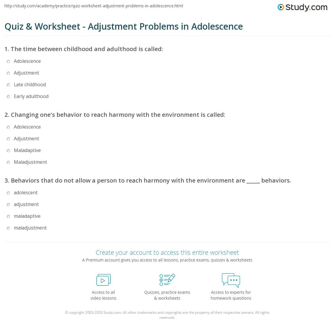 Quiz & Worksheet - Adjustment Problems in Adolescence   Study com