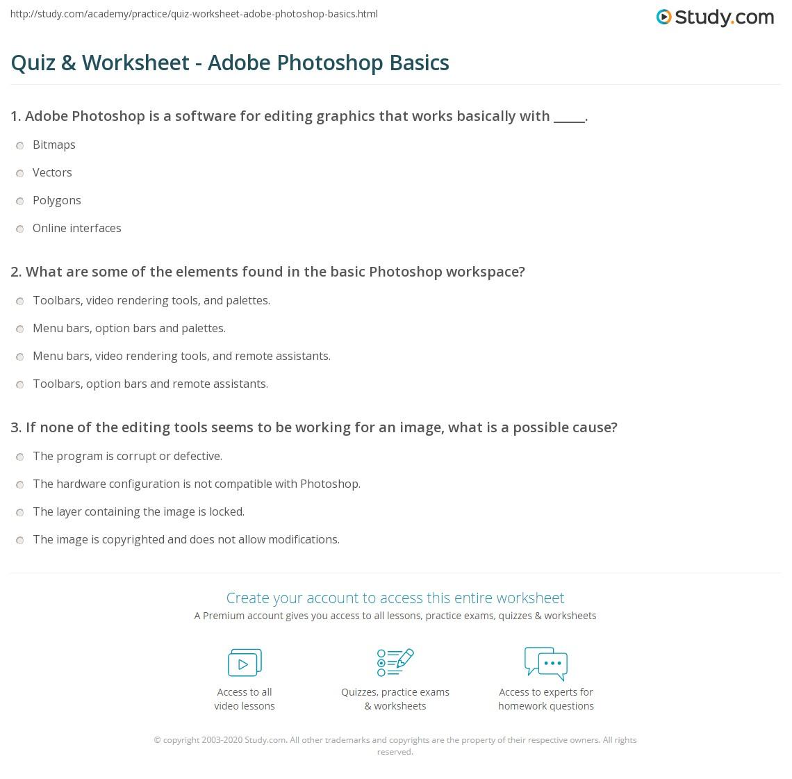 Quiz & Worksheet - Adobe Photoshop Basics | Study com