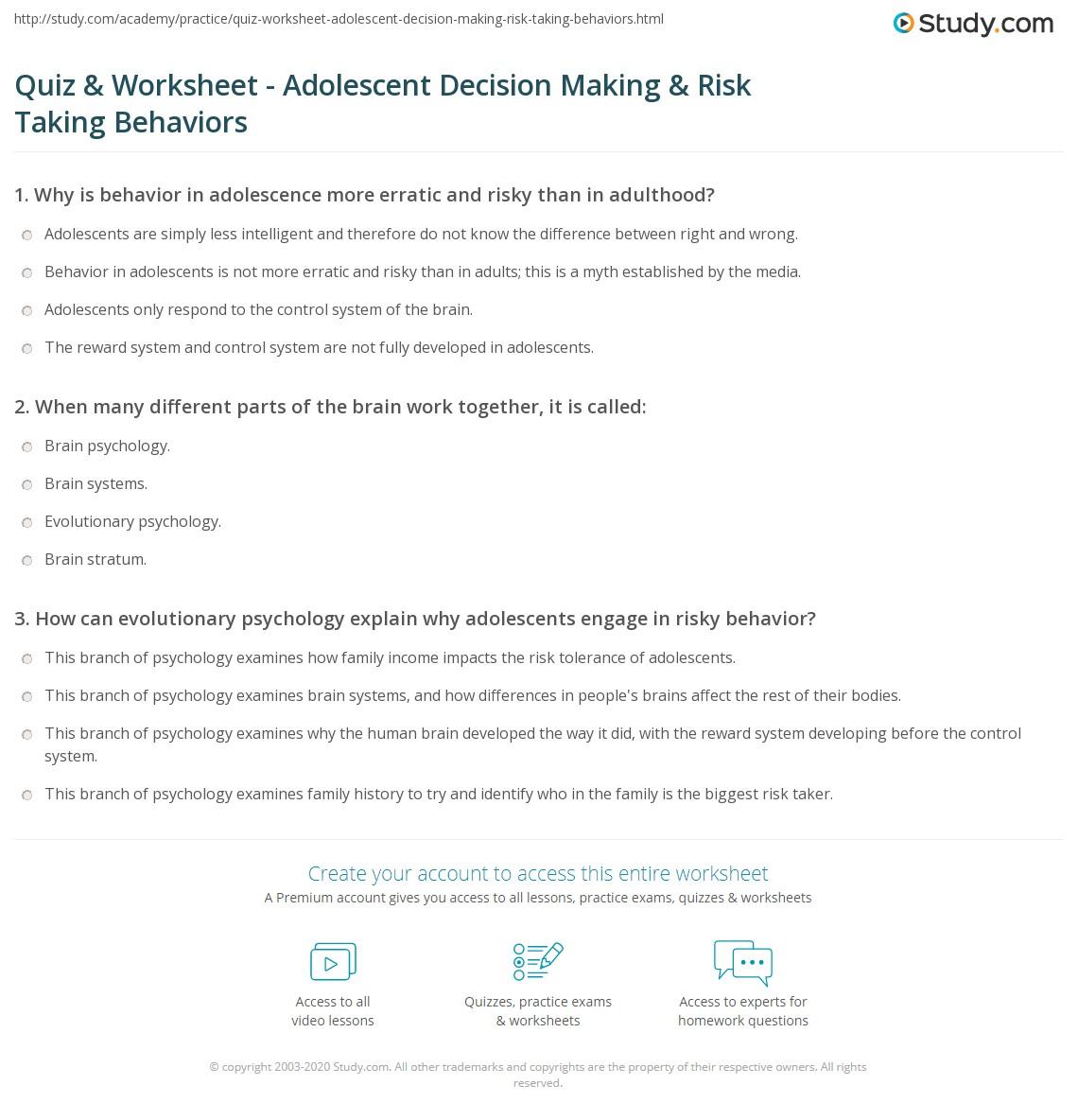 quiz worksheet adolescent decision making risk taking print decision making and risk taking behaviors in adolescence worksheet