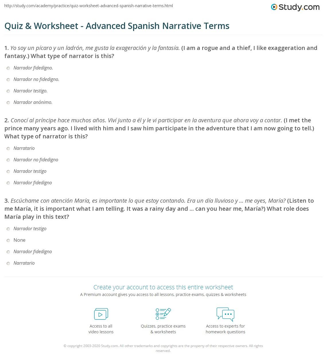 Quiz Worksheet Advanced Spanish Narrative Terms Study
