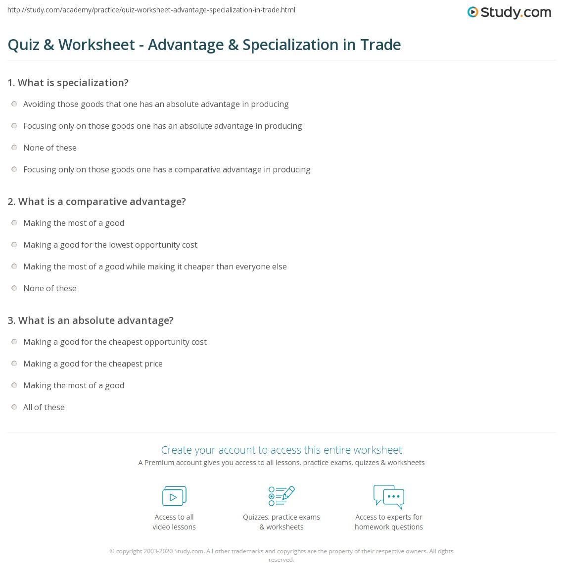 quiz worksheet advantage specialization in trade. Black Bedroom Furniture Sets. Home Design Ideas