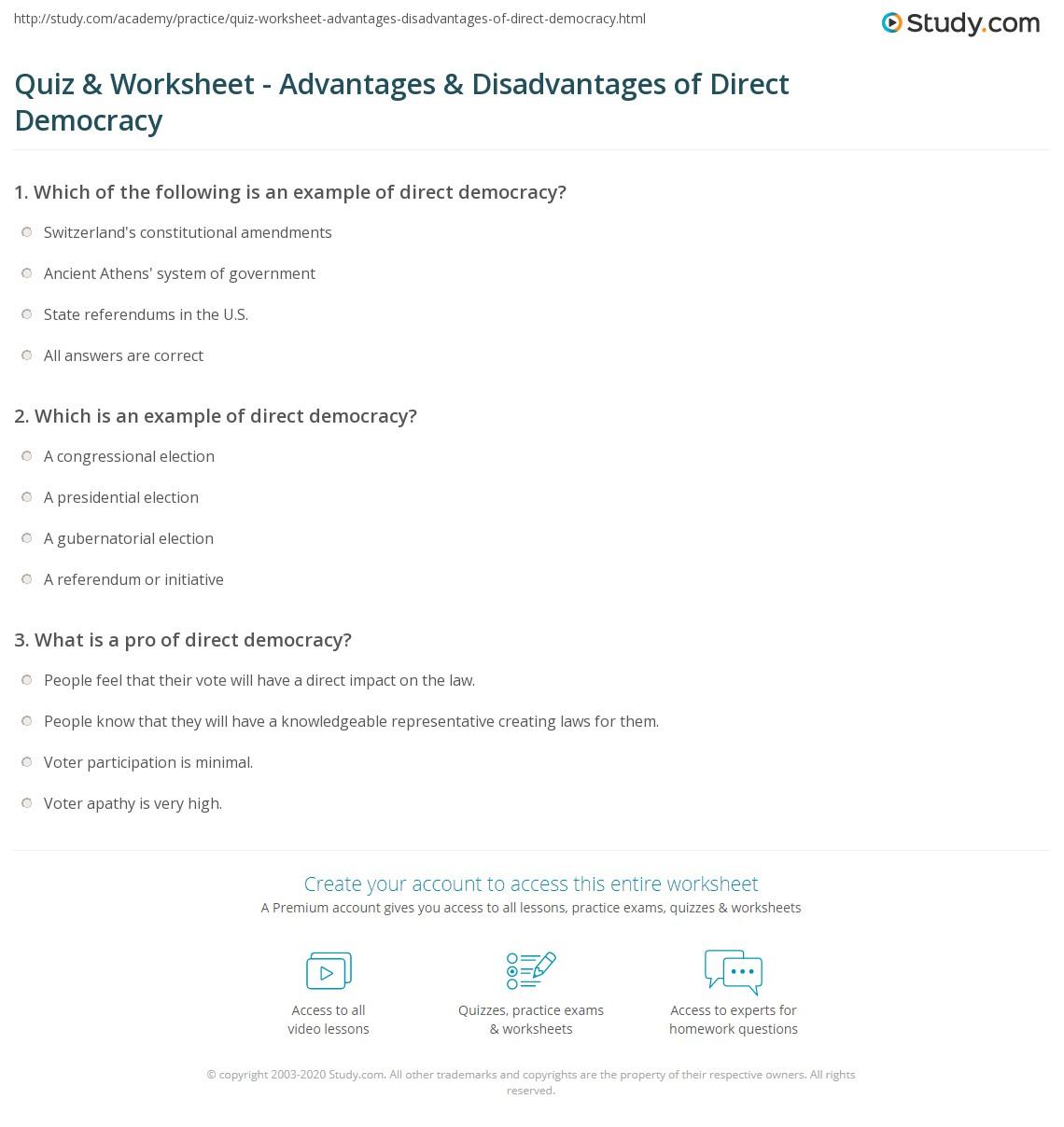 quiz & worksheet - advantages & disadvantages of direct democracy