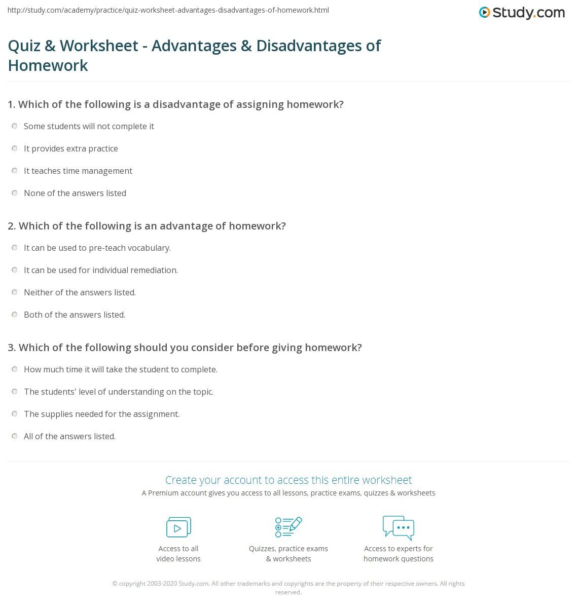 Quiz & Worksheet - Advantages & Disadvantages of Homework | Study.com