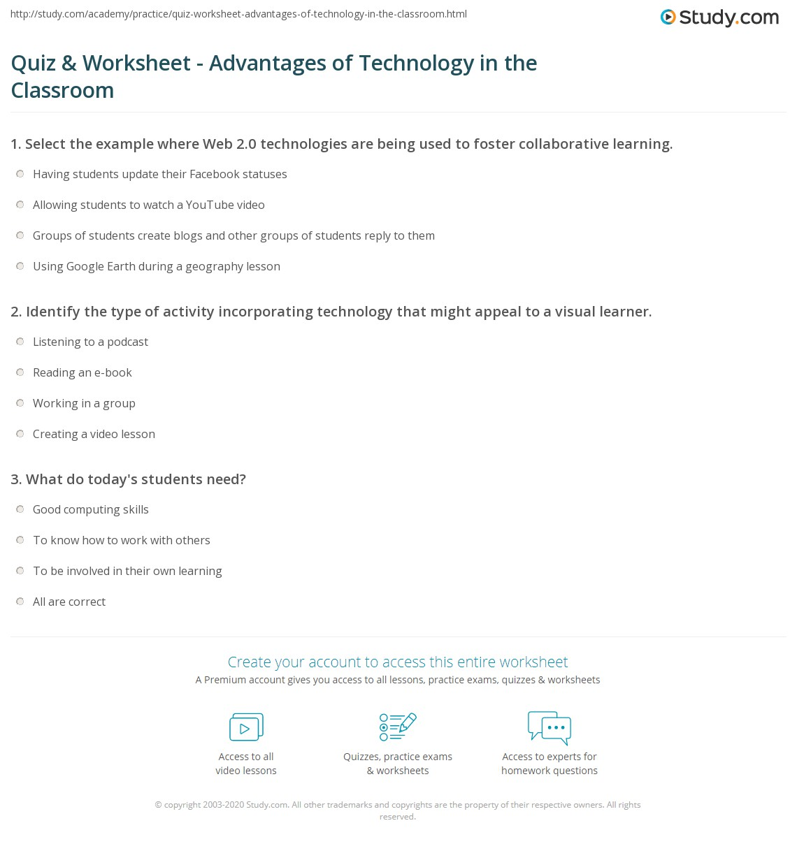 Quiz Worksheet Advantages Of Technology In The Classroom Study