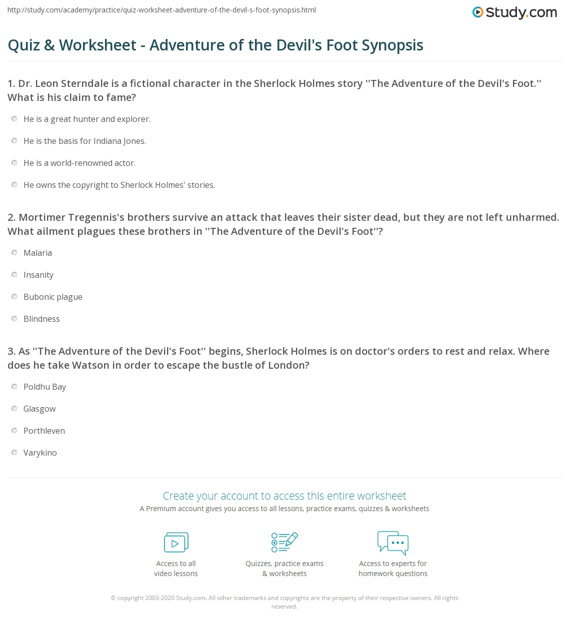 quiz worksheet adventure of the devil 39 s foot synopsis. Black Bedroom Furniture Sets. Home Design Ideas