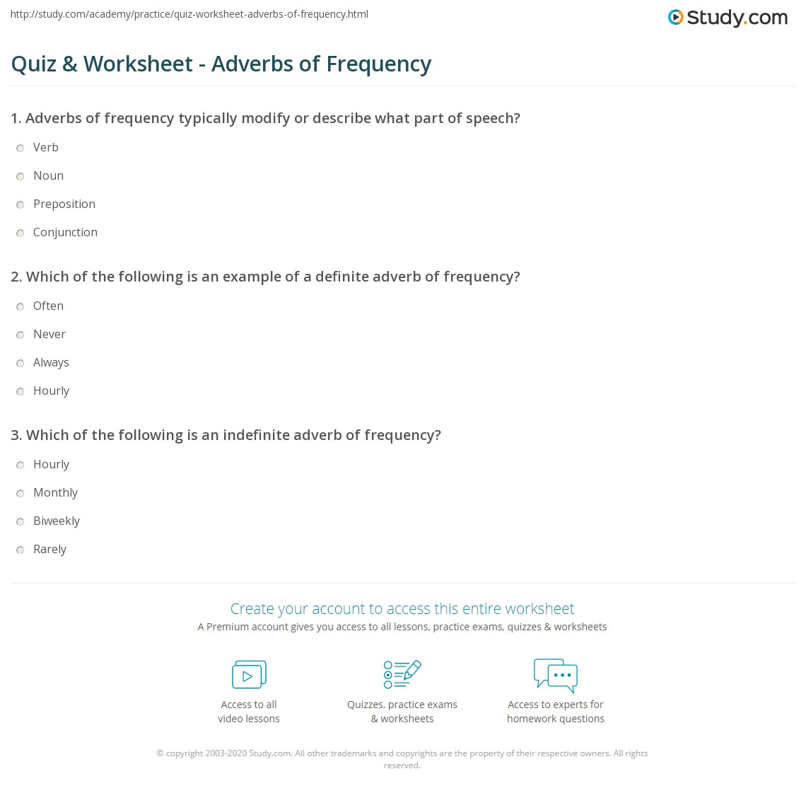 Quiz Worksheet Adverbs Of Frequency Study