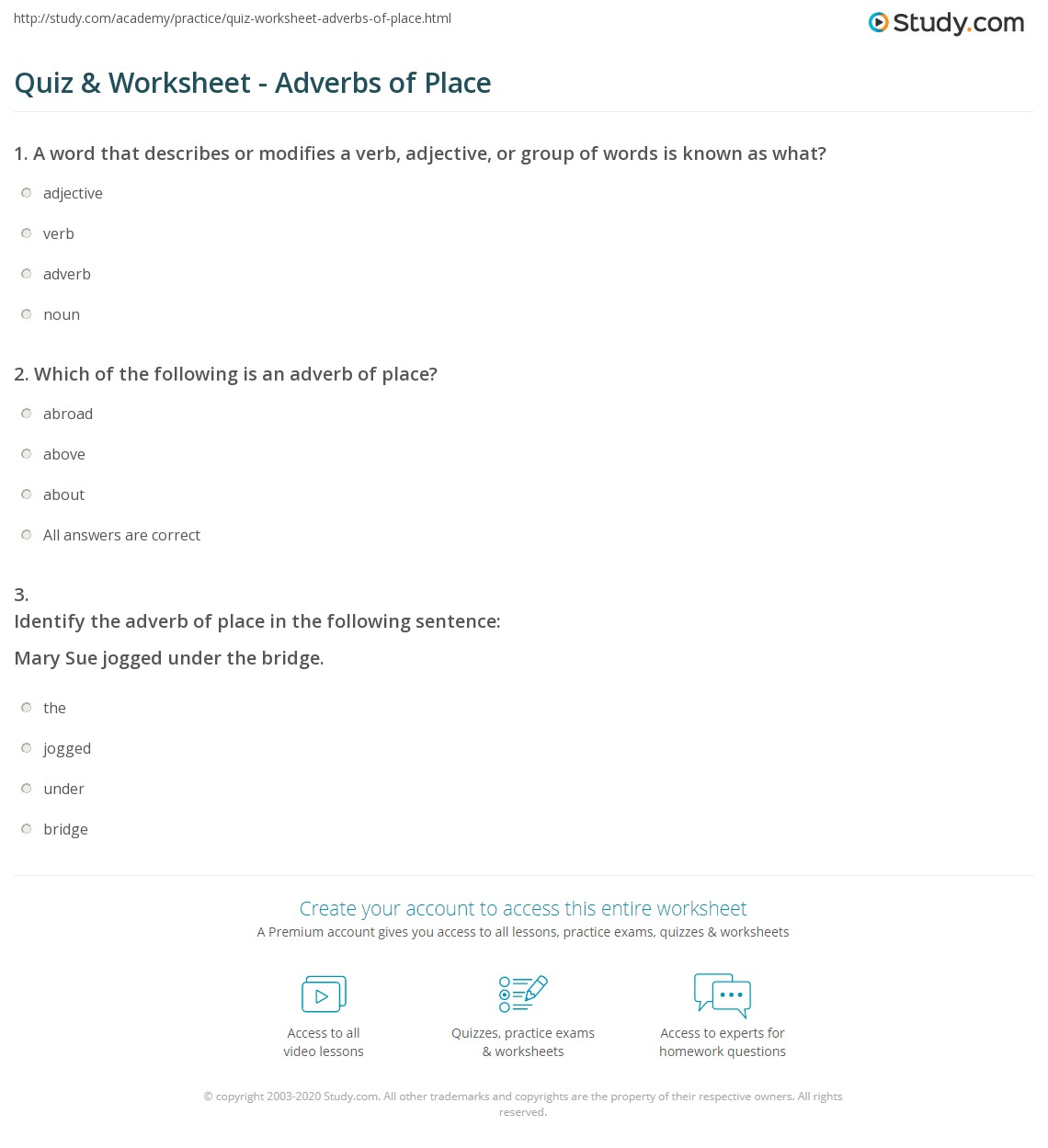Quiz Worksheet Adverbs Of Place Study