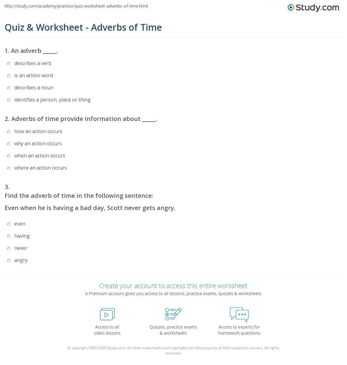 Quiz Worksheet Adverbs Of Time Study