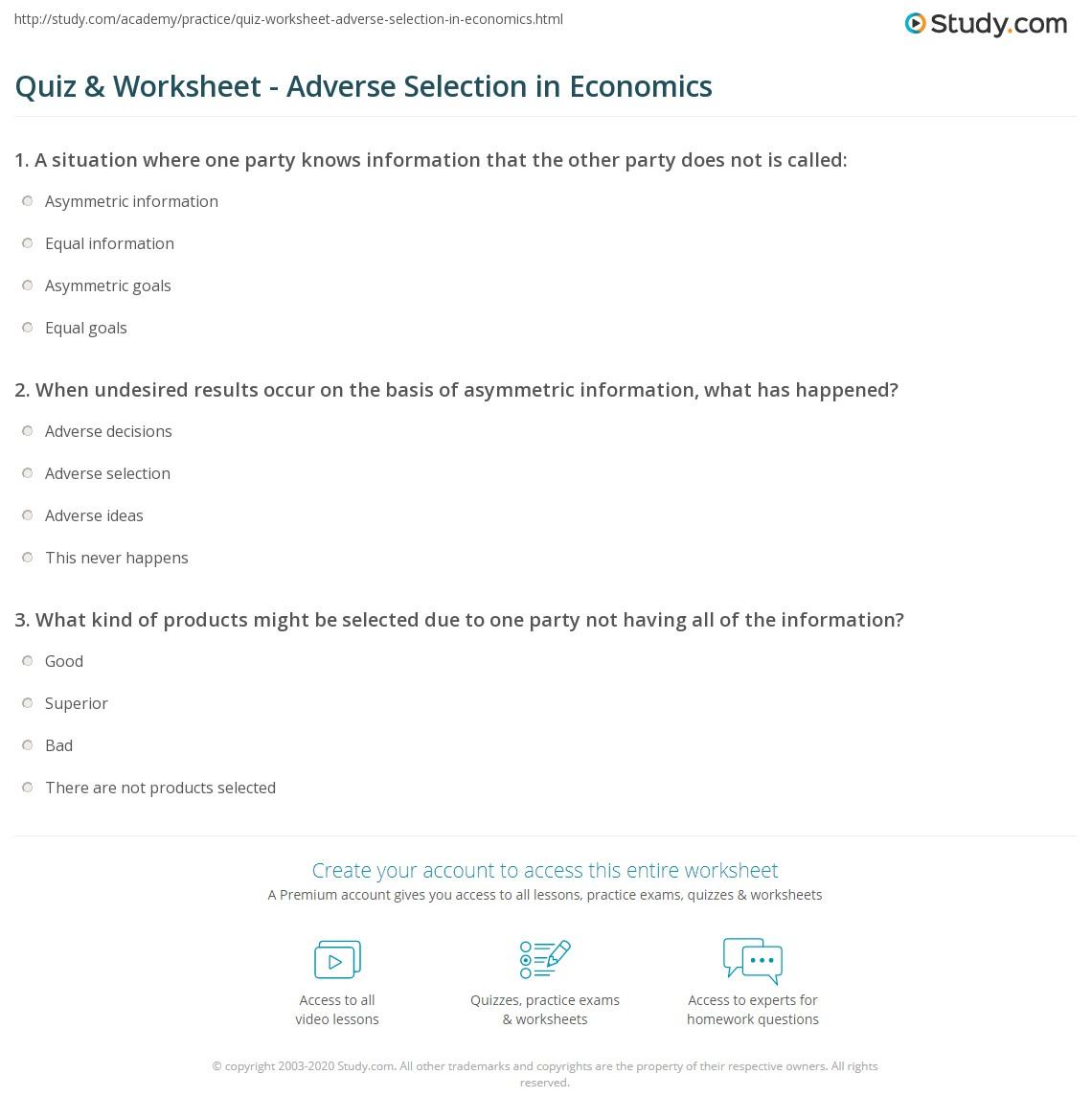 Quiz Worksheet Adverse Selection In Economics Study