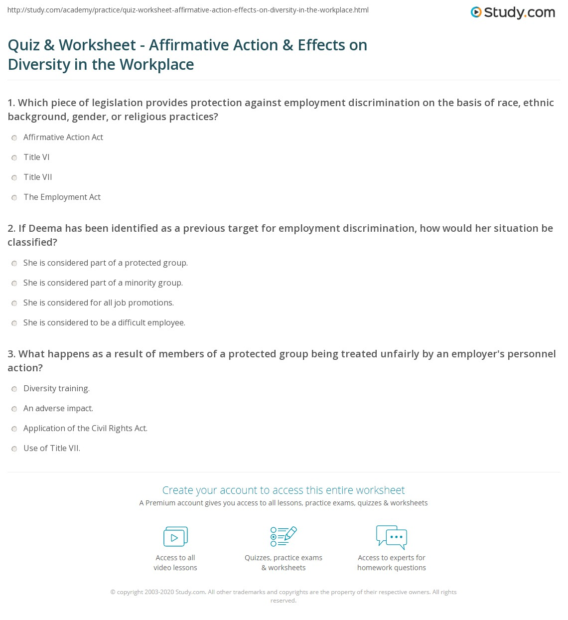 quiz & worksheet - affirmative action & effects on diversity in the