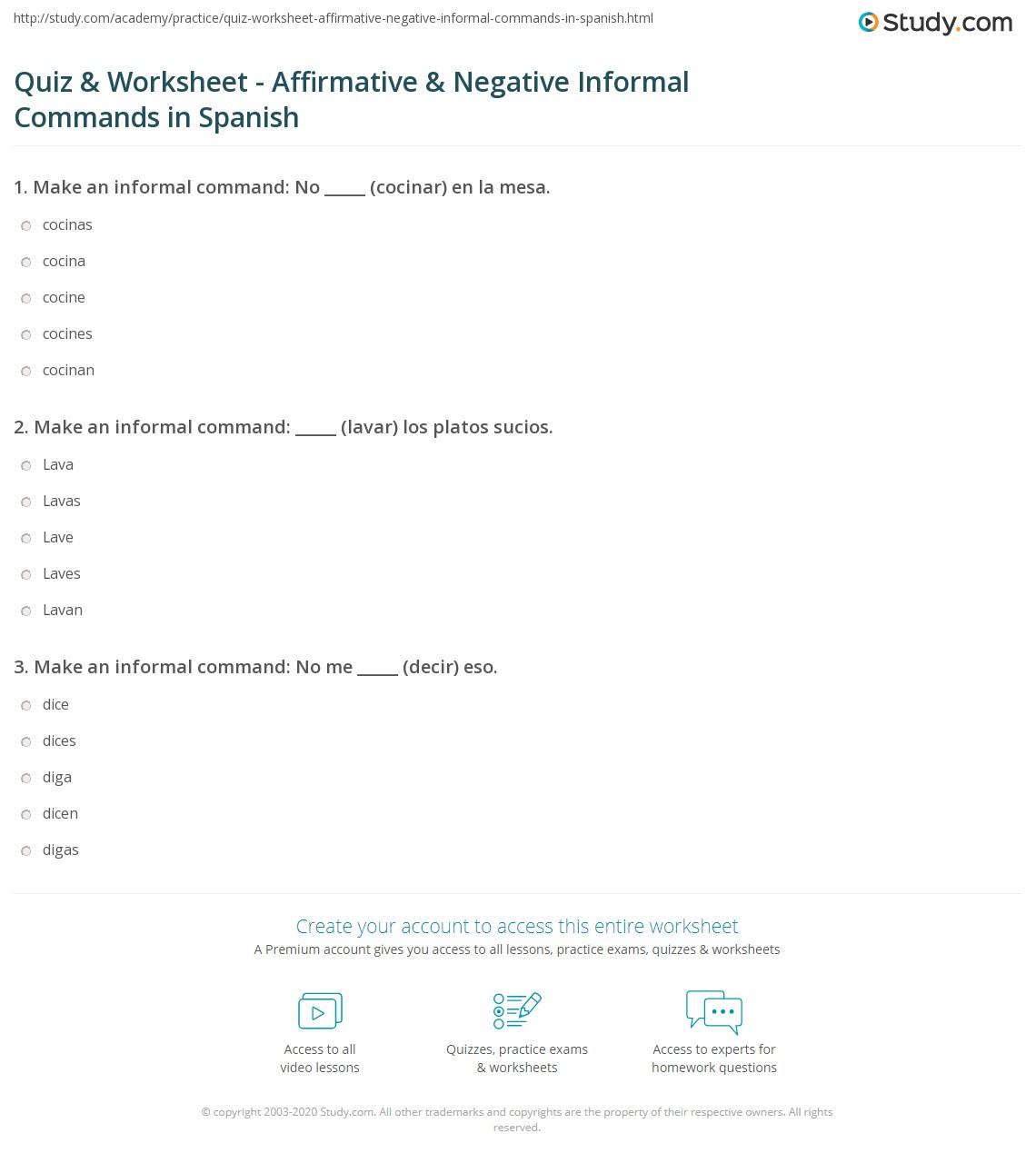 quiz worksheet affirmative negative informal commands in spanish. Black Bedroom Furniture Sets. Home Design Ideas