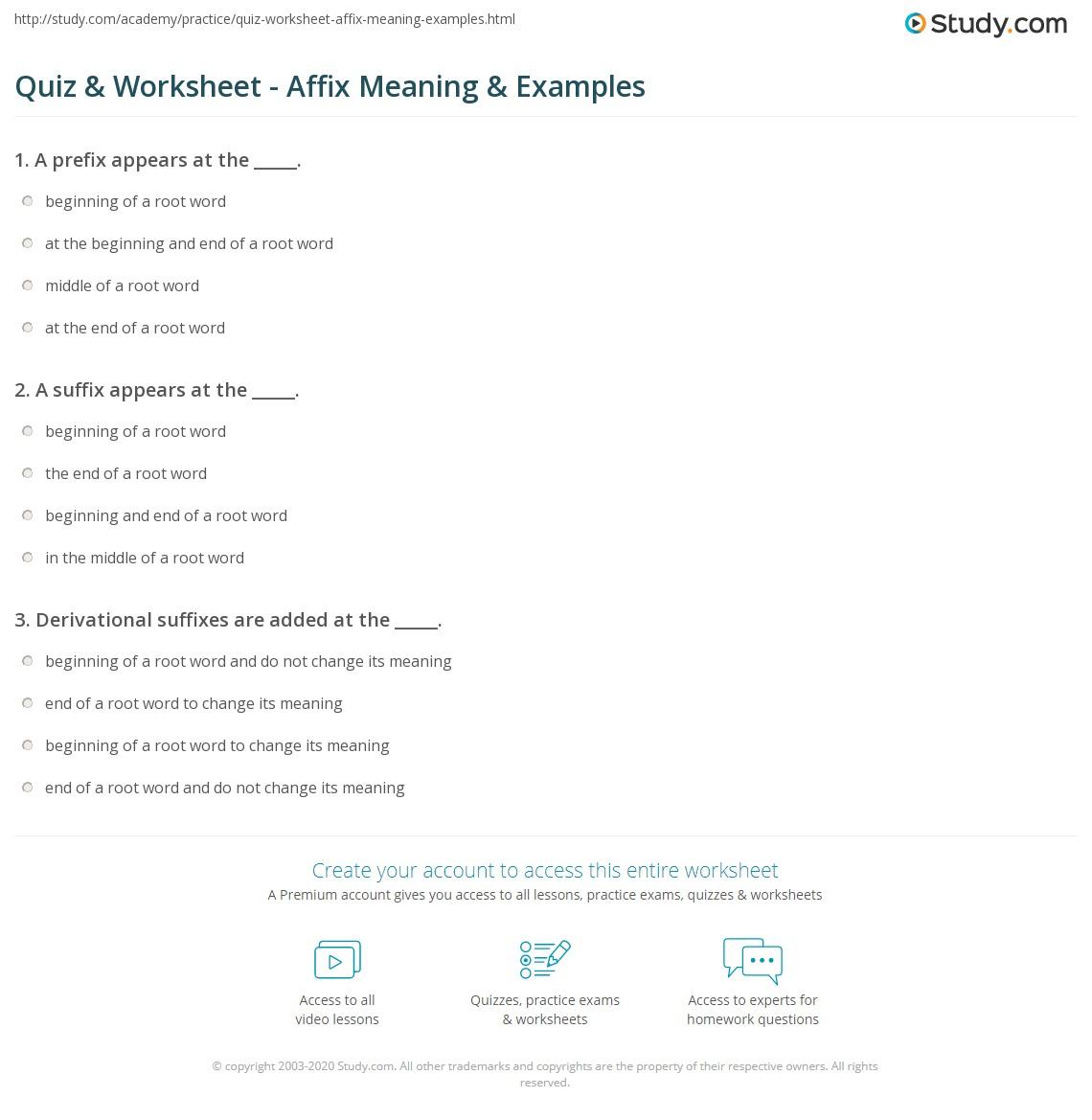 Quiz Worksheet Affix Meaning Examples – Affixes Worksheet