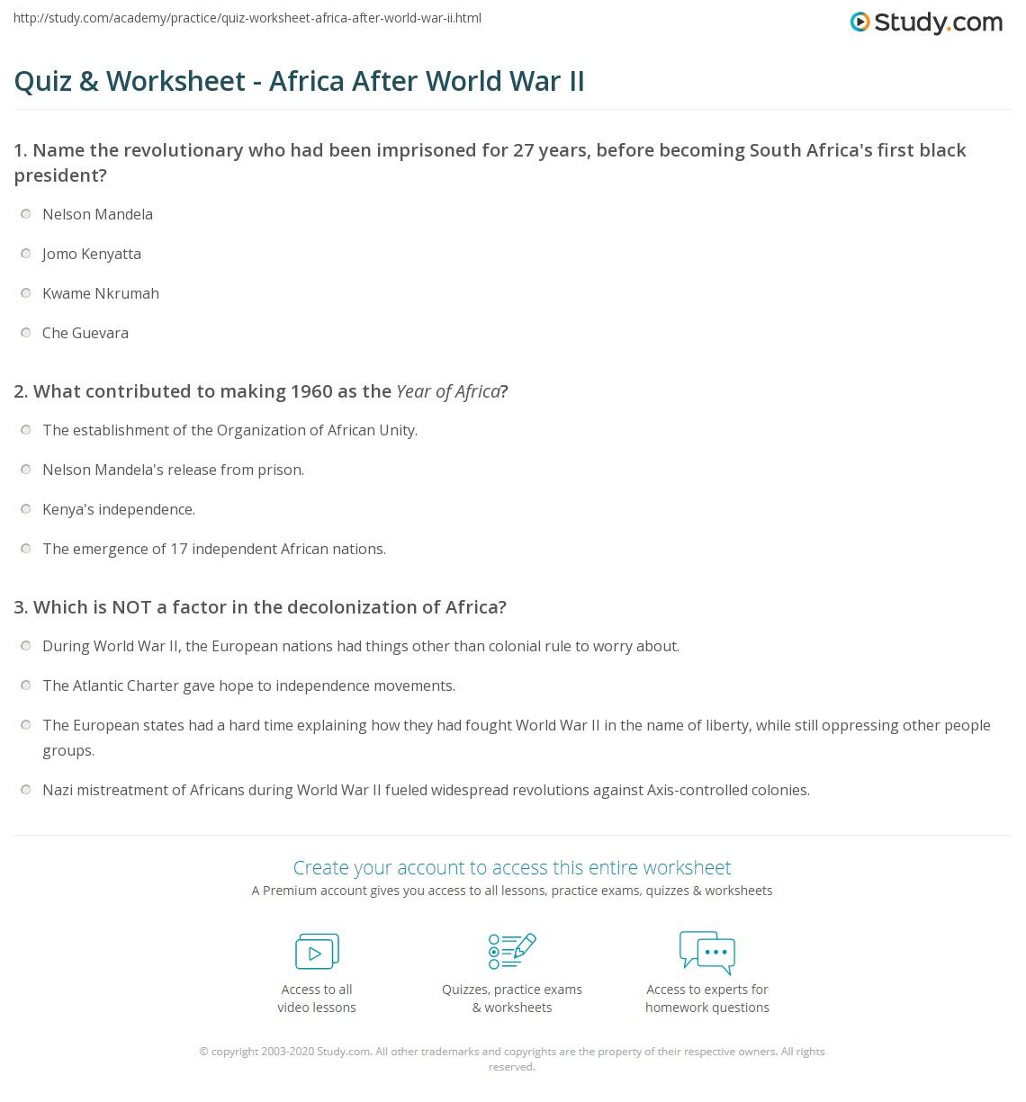 Quiz Worksheet Africa After World War Ii Study Com