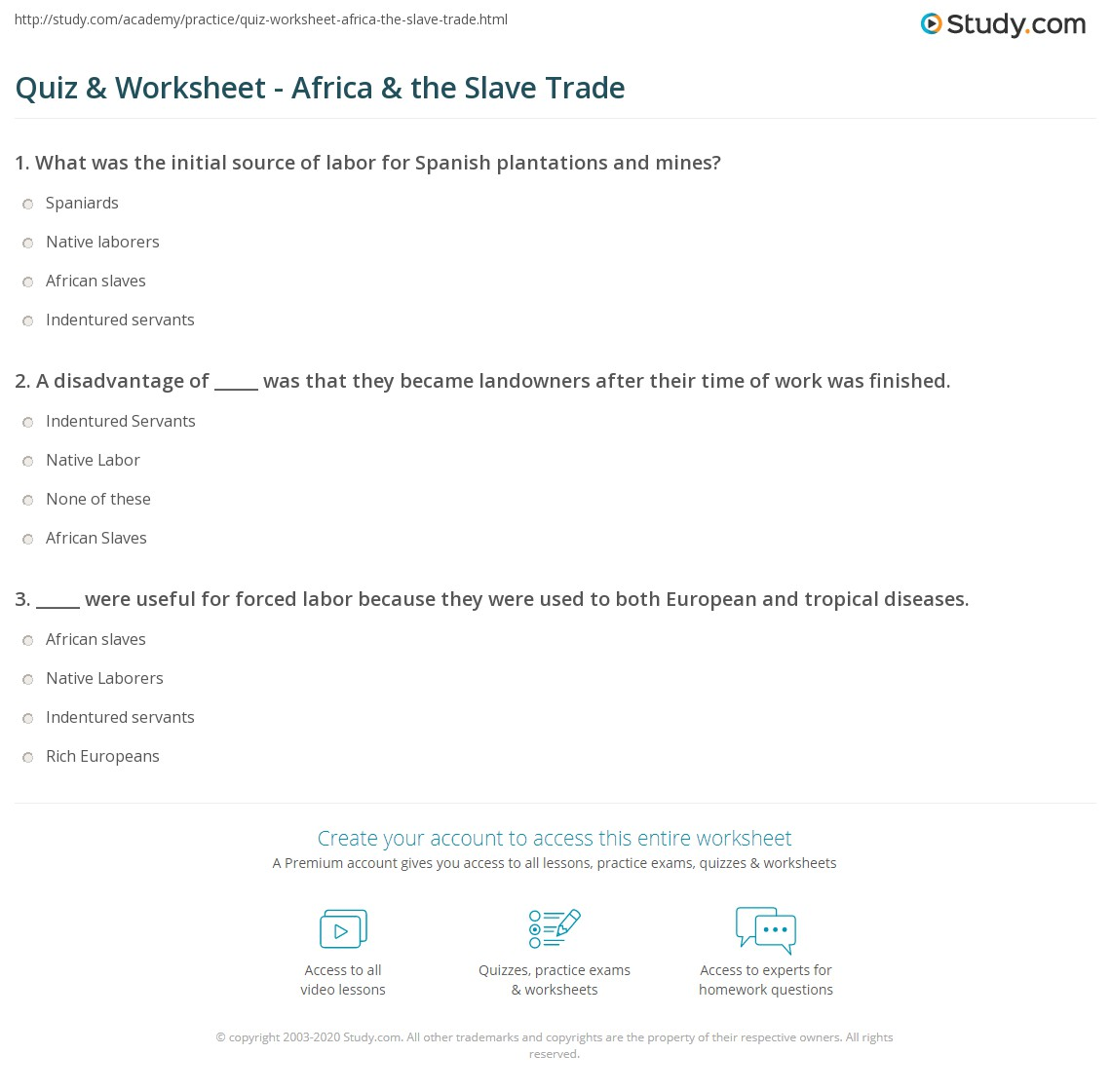 quiz worksheet africa the slave trade. Black Bedroom Furniture Sets. Home Design Ideas