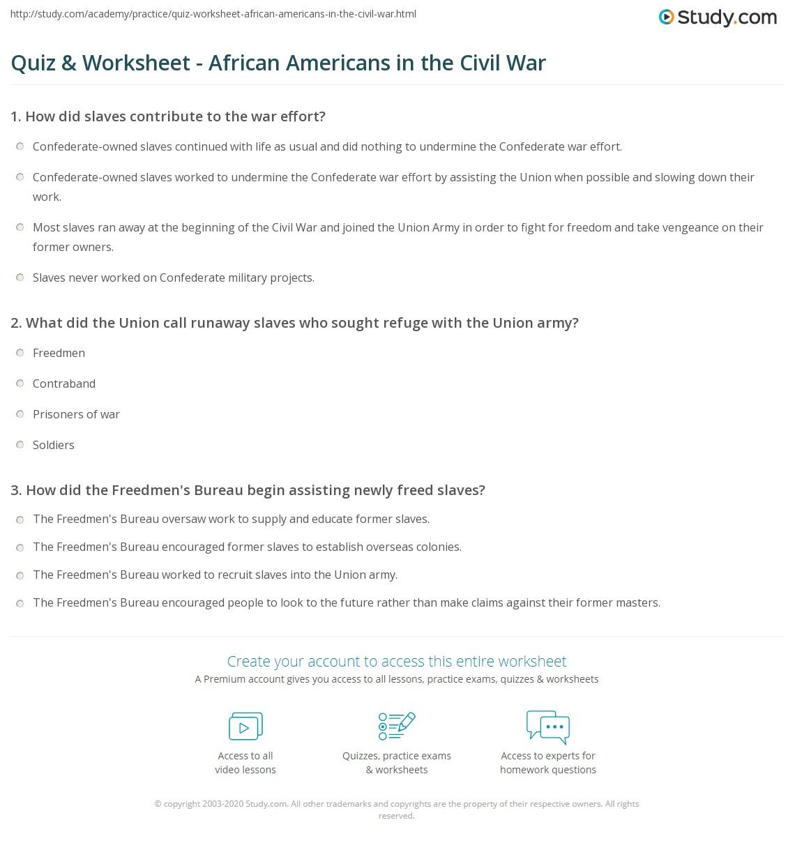 worksheet Causes Of The Civil War Worksheet quiz worksheet african americans in the civil war study com print history facts worksheet