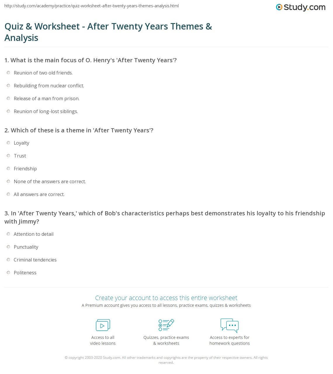 Quiz & Worksheet - After Twenty Years Themes & Analysis | Study com