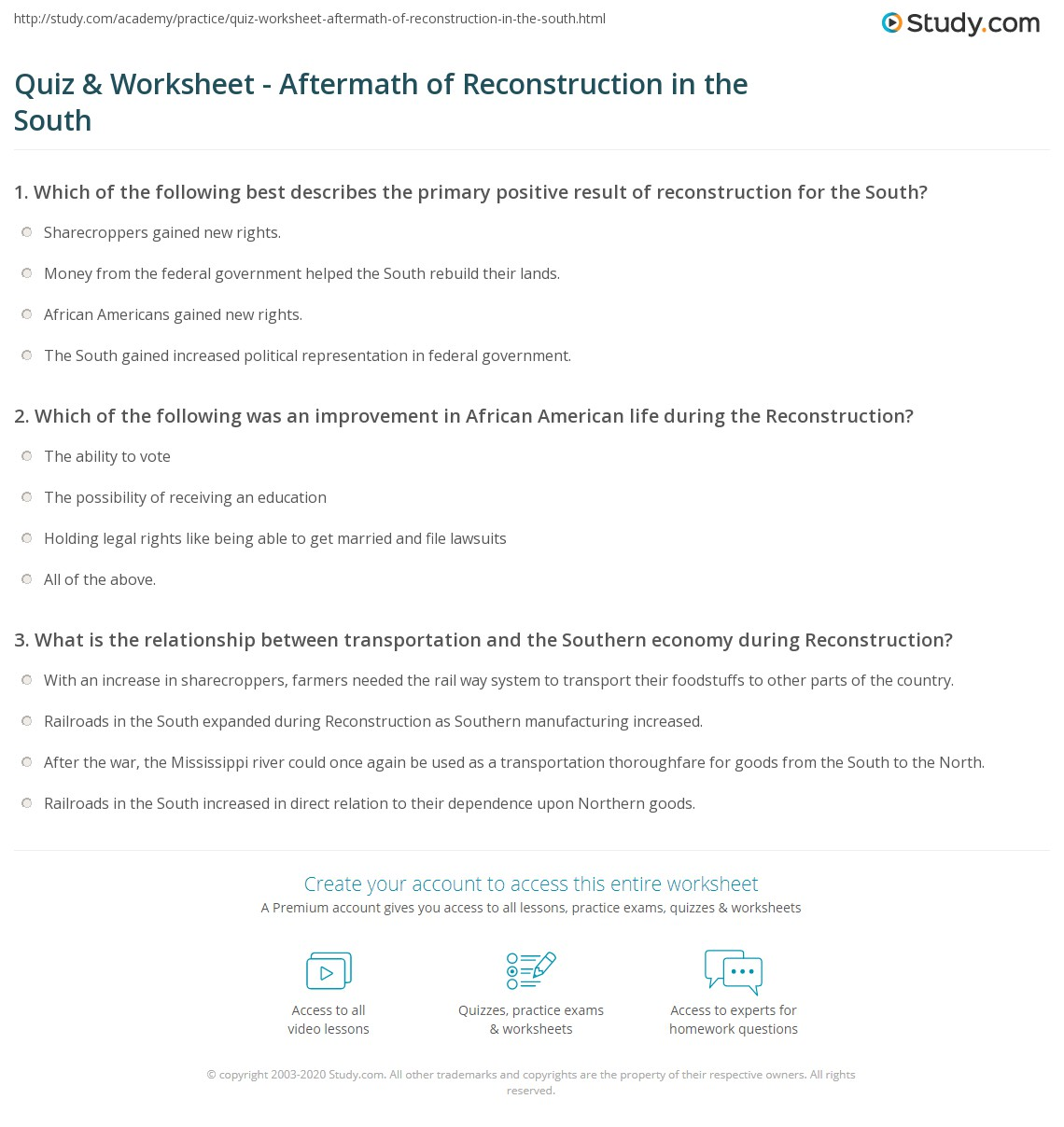 Worksheets Reconstruction Worksheets quiz worksheet aftermath of reconstruction in the south study com print positive negative effects worksheet