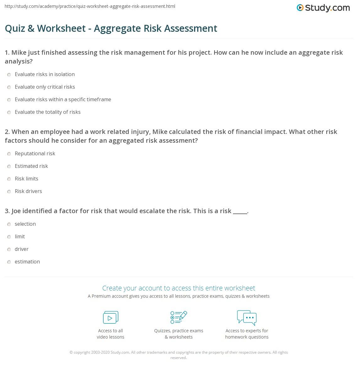 Worksheets Risk Analysis Worksheet quiz worksheet aggregate risk assessment study com print principles worksheet