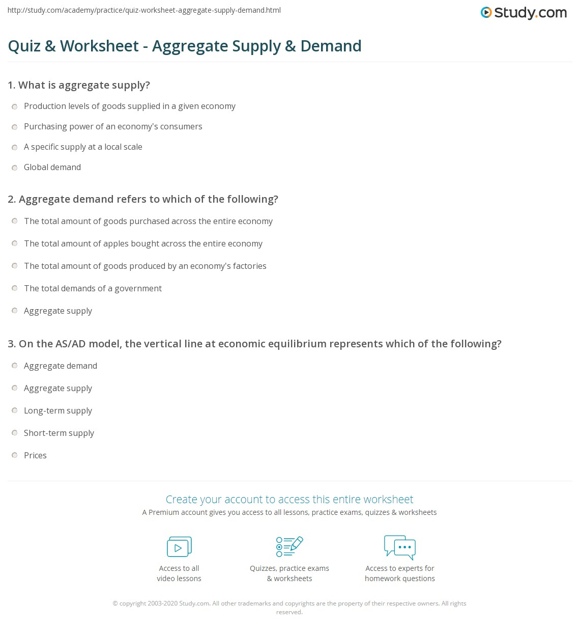 Quiz & Worksheet - Aggregate Supply & Demand | Study.com