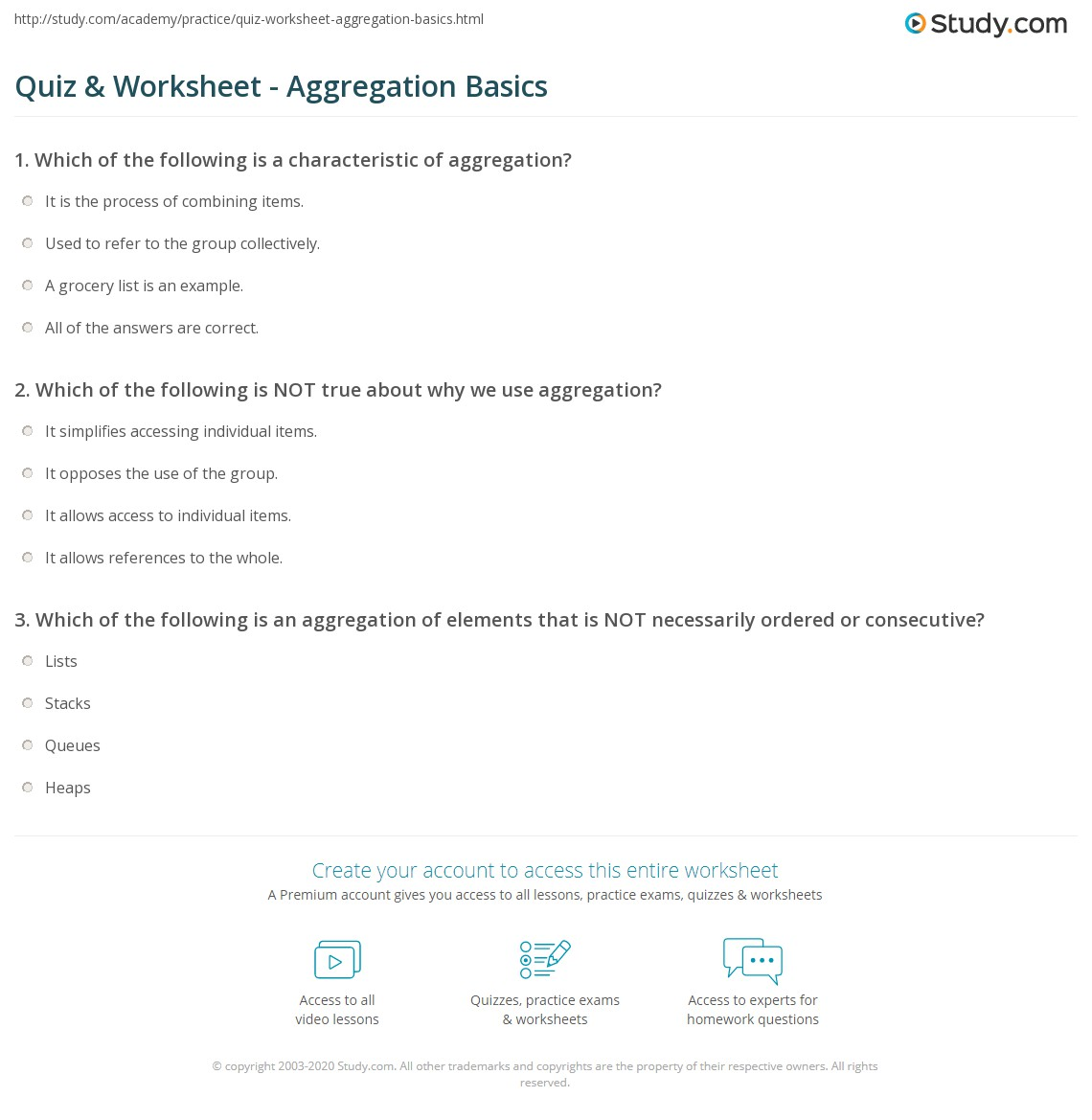 worksheet Grocery List Worksheet quiz worksheet aggregation basics study com print what is worksheet