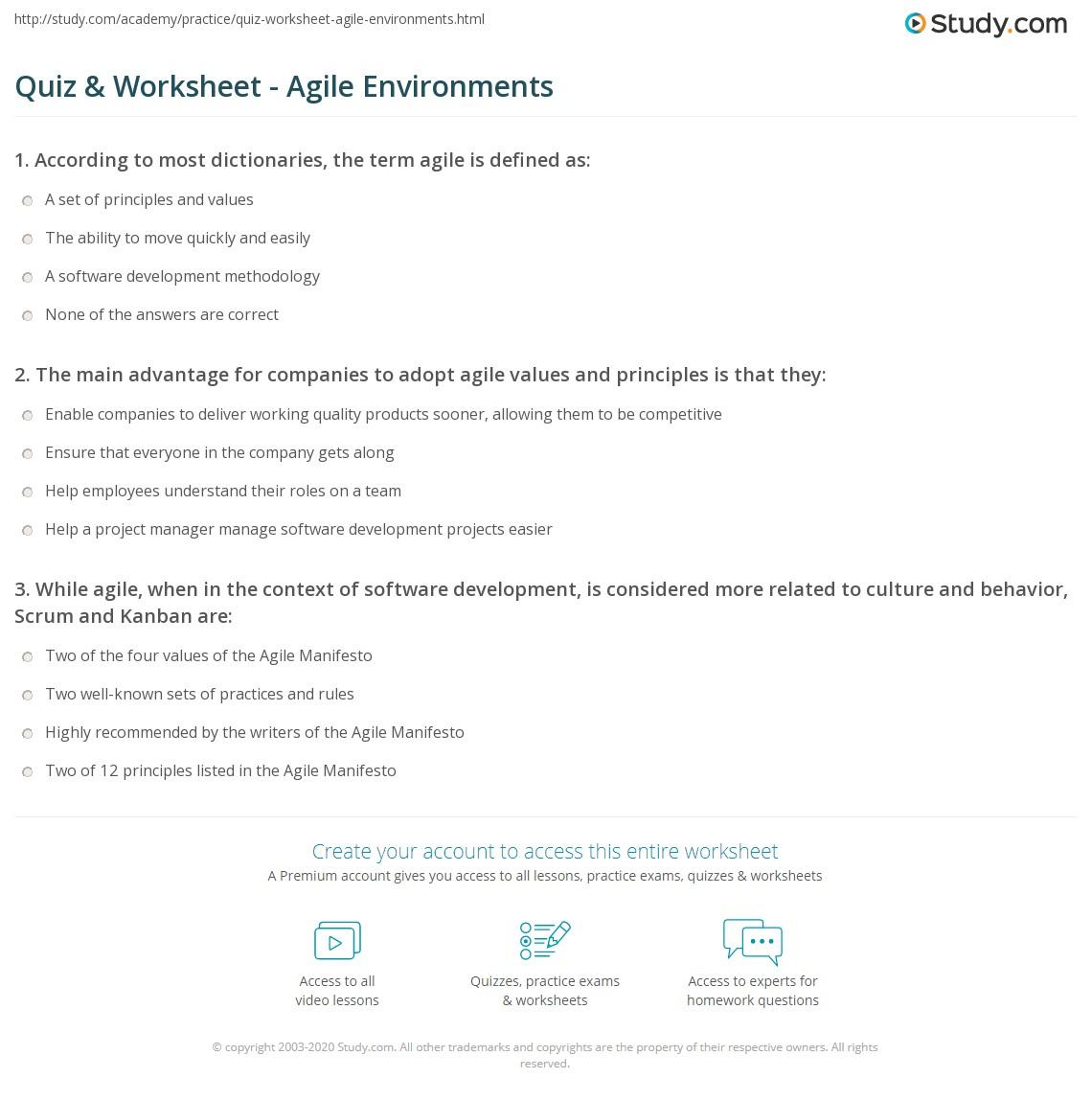 Quiz & Worksheet - Agile Environments   Study.com
