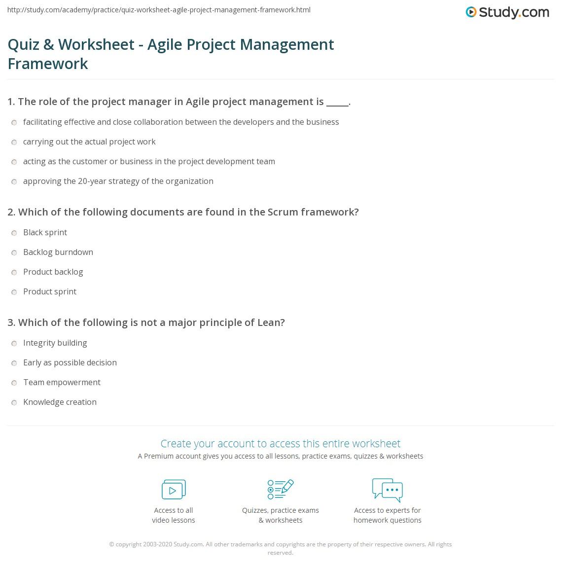Quiz Worksheet Agile Project Management Framework Study