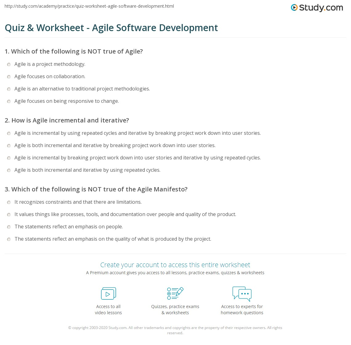 Quiz Worksheet Agile Software Development Study