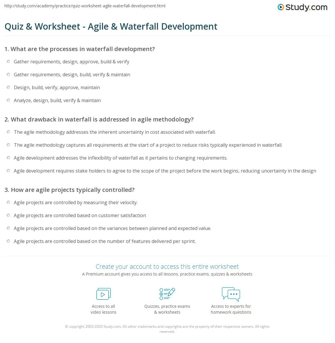 Quiz & Worksheet - Agile & Waterfall Development | Study com