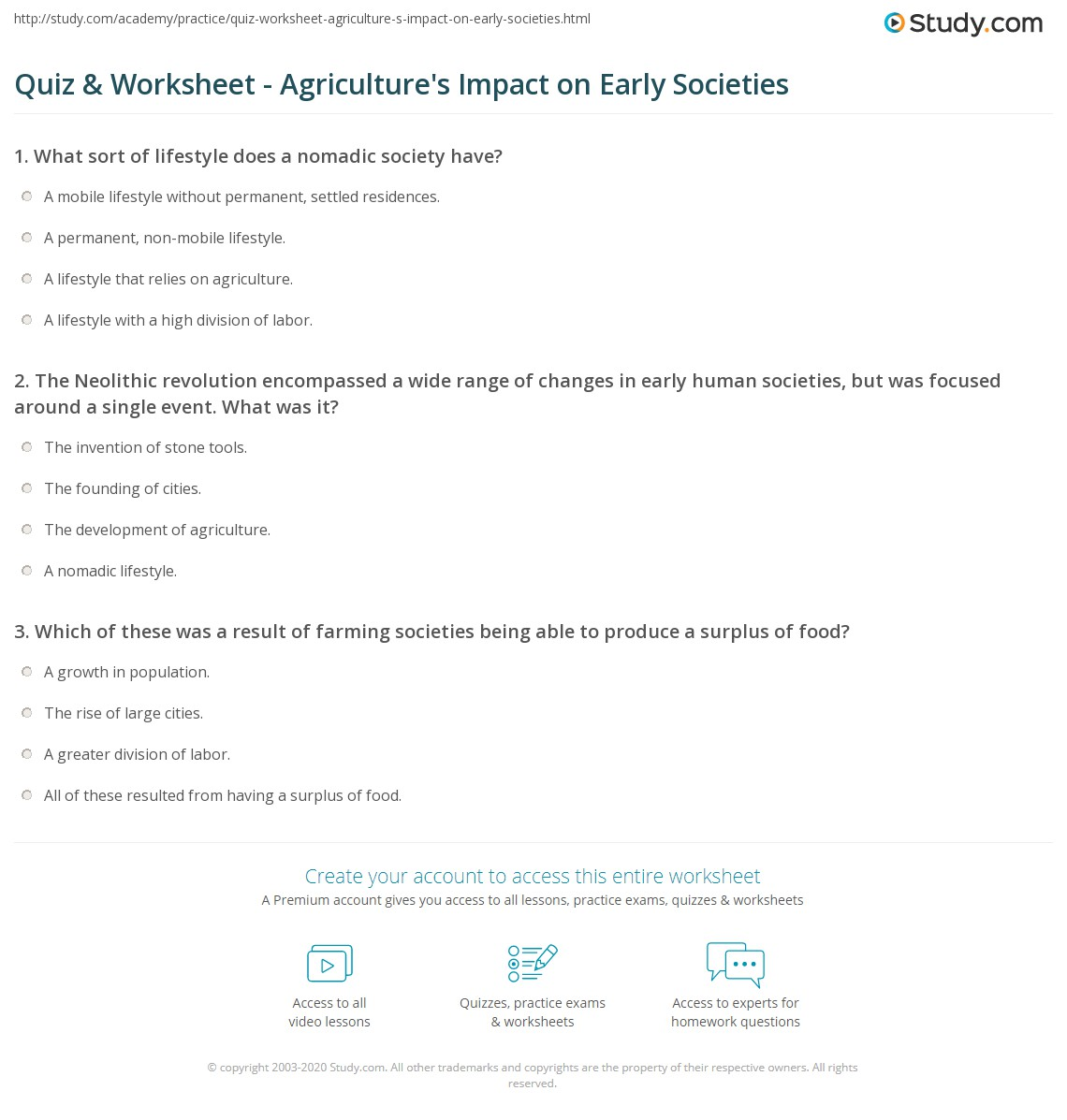Quiz worksheet agricultures impact on early societies study print how agriculture changed early societies worksheet ibookread Download