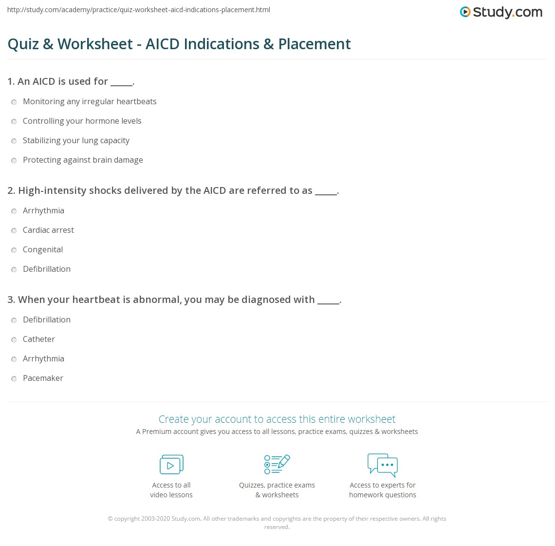 Quiz Worksheet Aicd Indications Placement Study