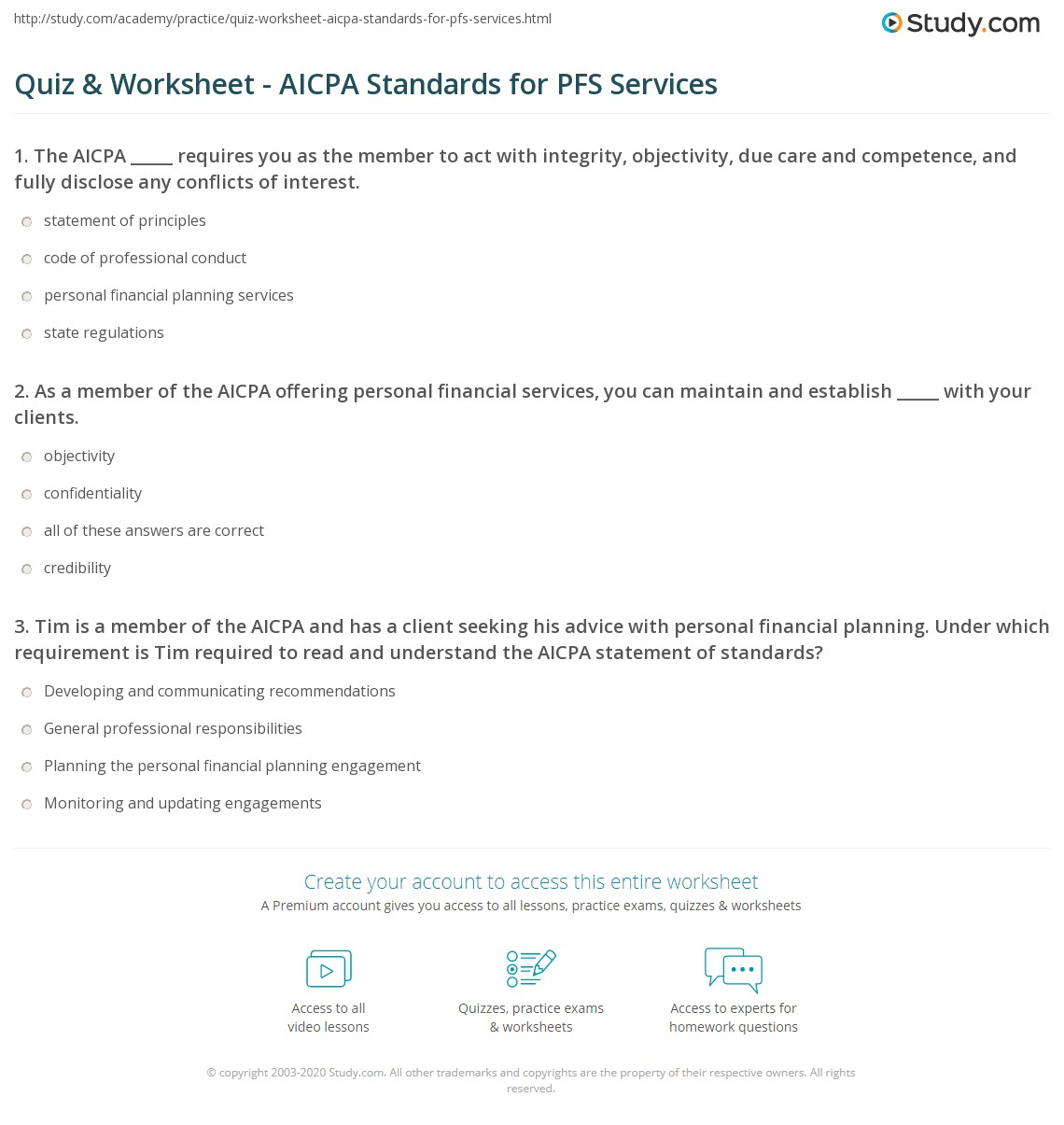 Quiz Worksheet Aicpa Standards For Pfs Services Study
