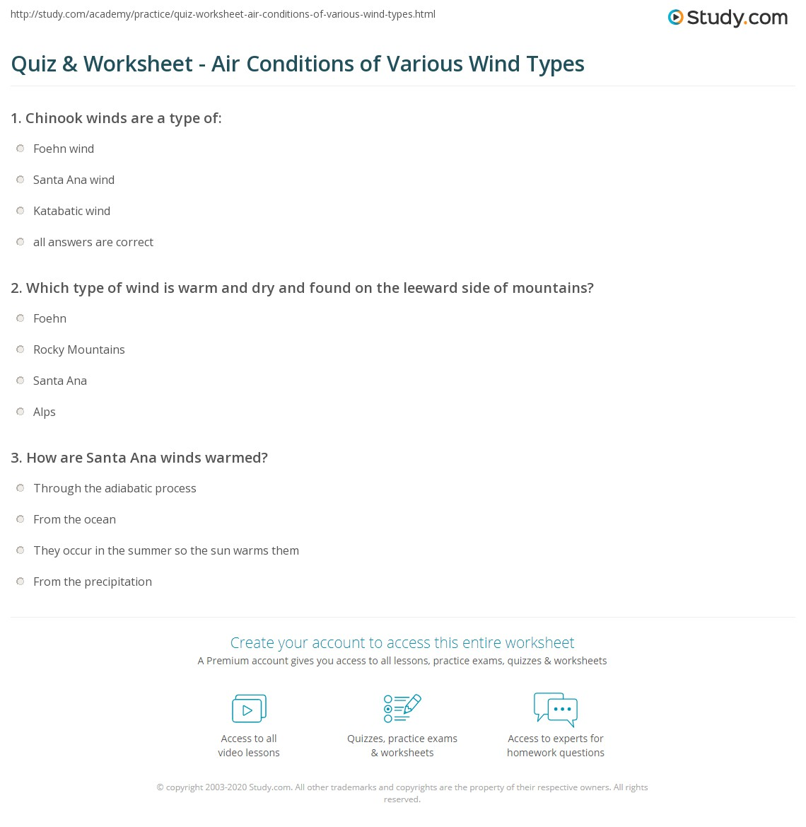Quiz & Worksheet - Air Conditions of Various Wind Types | Study.com