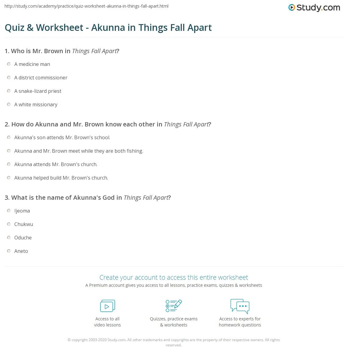 Quiz & Worksheet - Akunna In Things Fall Apart