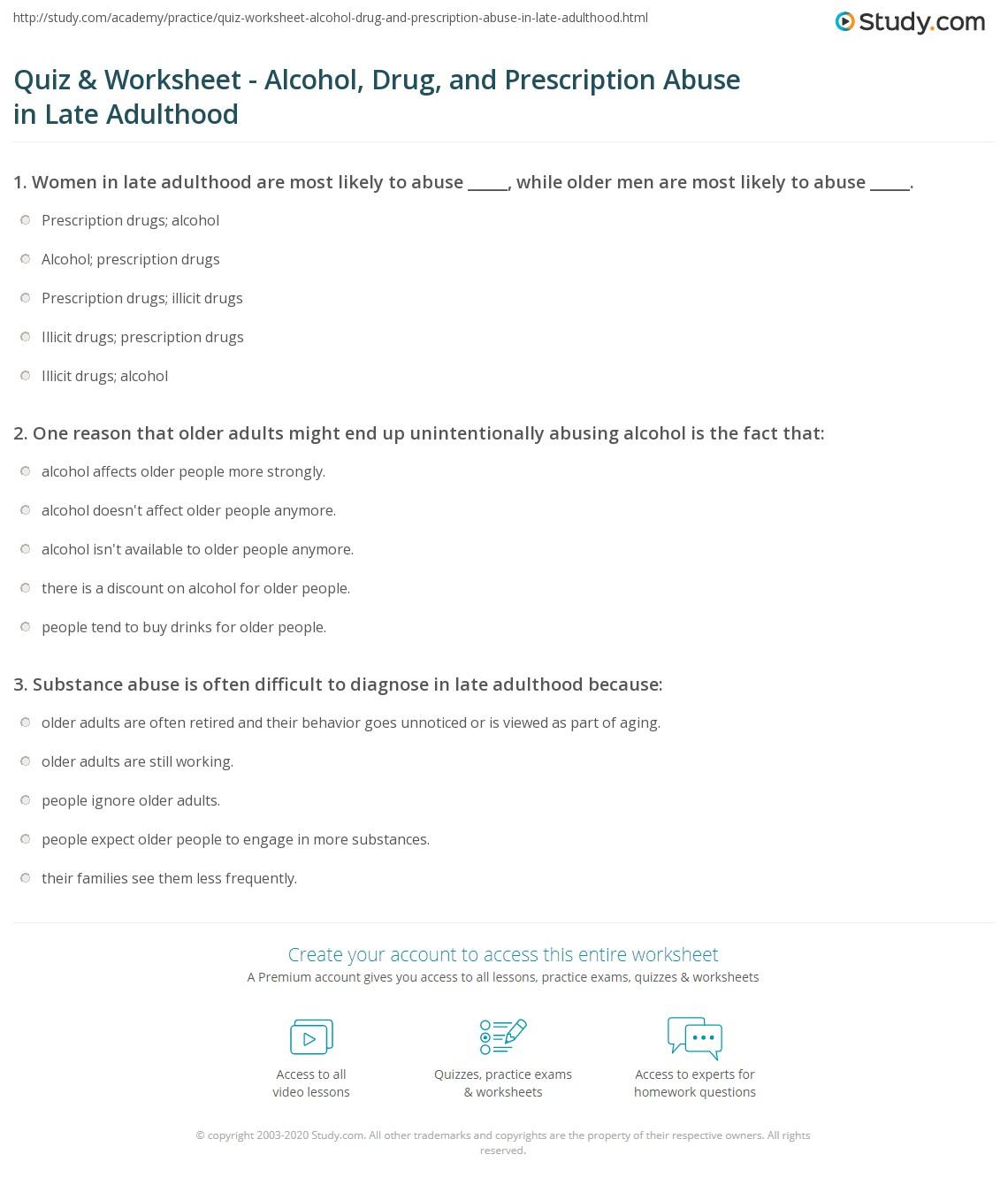 Quiz & Worksheet - Alcohol, Drug, and Prescription Abuse in ...