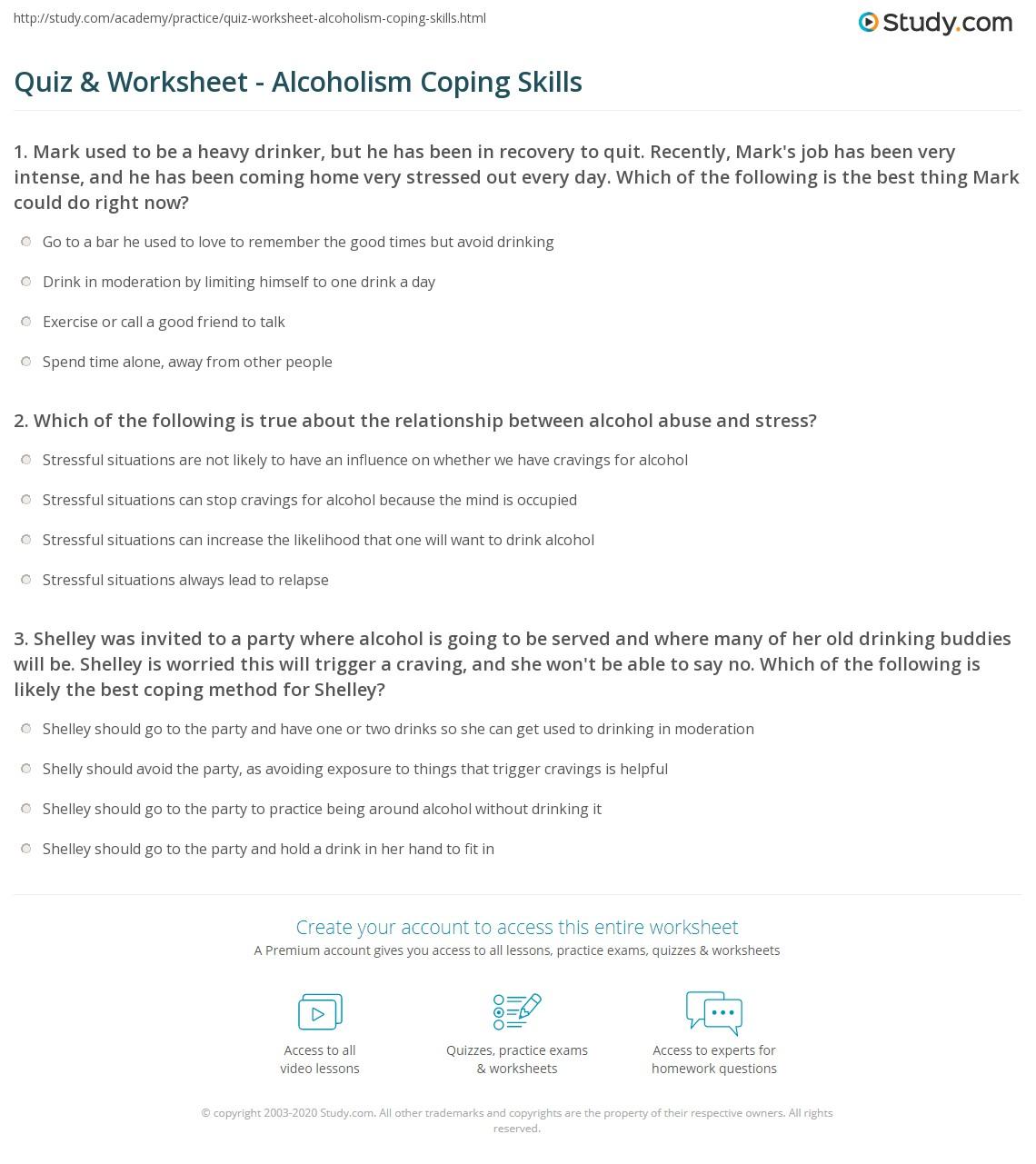 worksheet Coping With Cravings Worksheet quiz worksheet alcoholism coping skills study com print mechanisms for alcoholics worksheet
