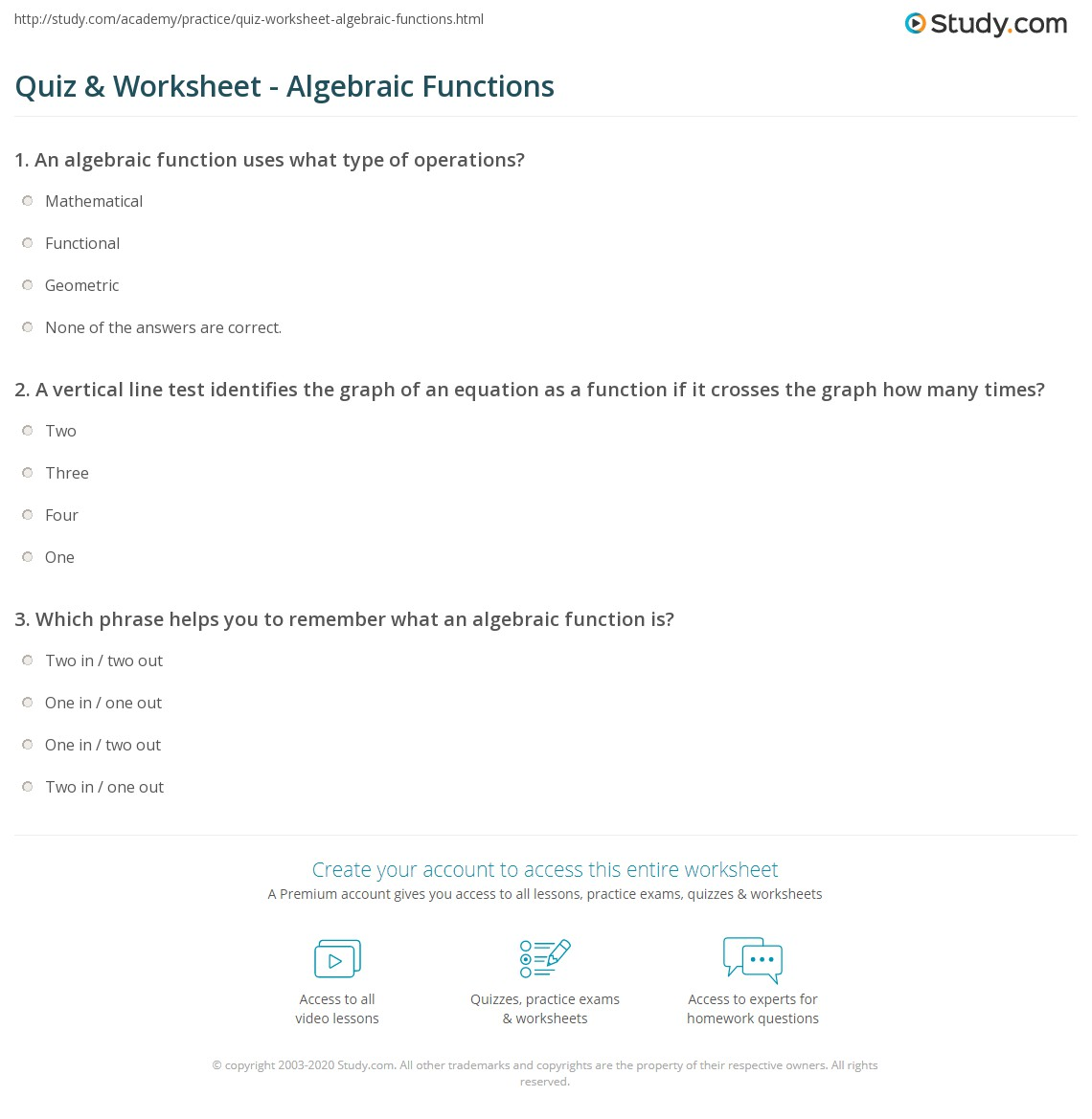 Worksheets Vertical Line Test Worksheet quiz worksheet algebraic functions study com a vertical line test identifies the graph of an equation as function if it crosses how many times