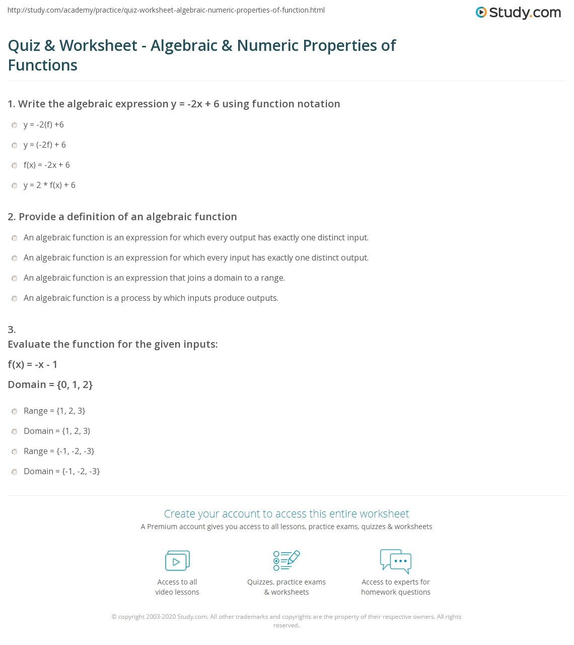 worksheet Algebra Properties Worksheet quiz worksheet algebraic numeric properties of functions print compare algebraically worksheet