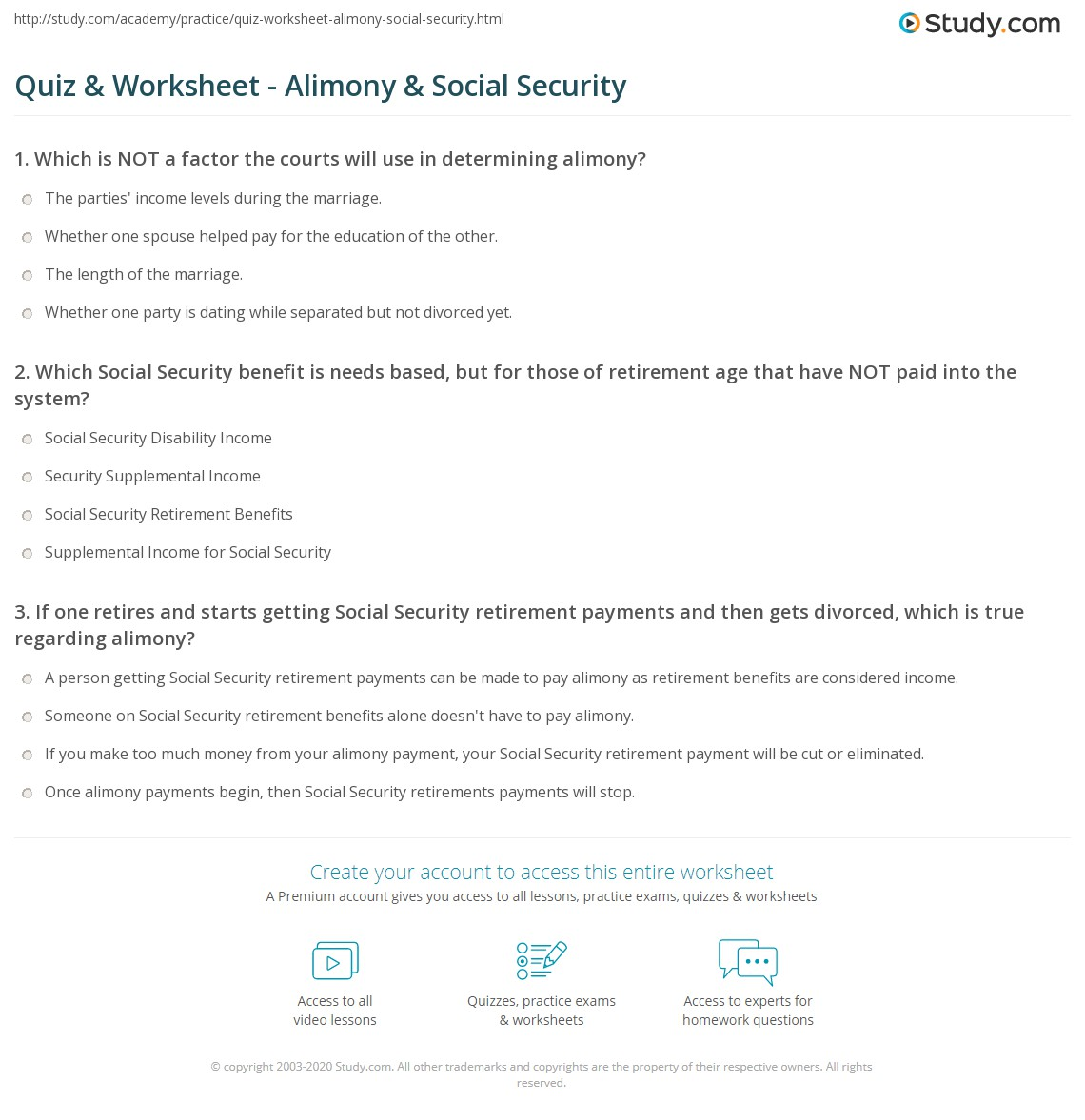 Worksheets Social Security Benefit Worksheet quiz worksheet alimony social security study com print benefits worksheet