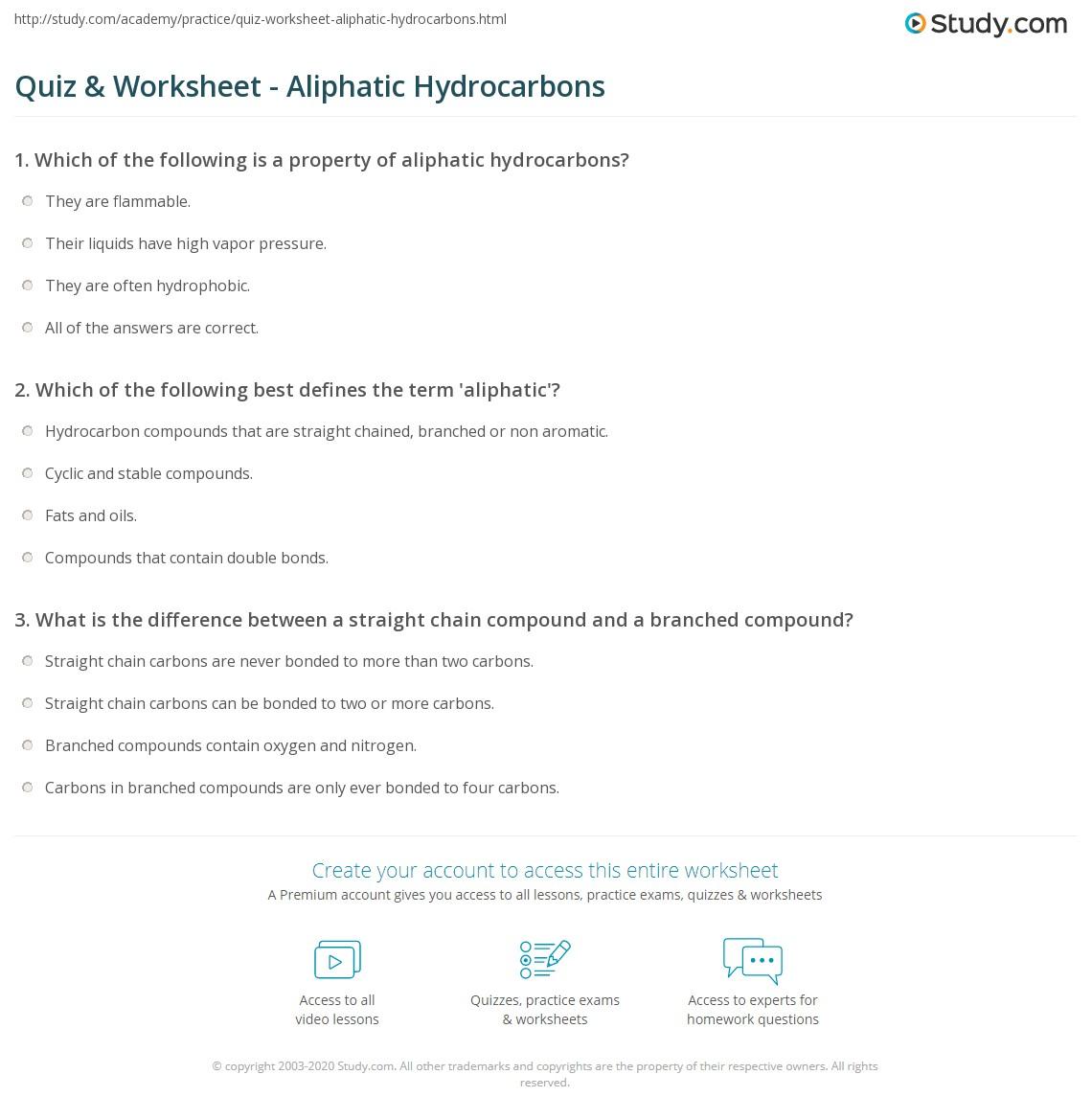 Quiz & Worksheet - Aliphatic Hydrocarbons   Study.com