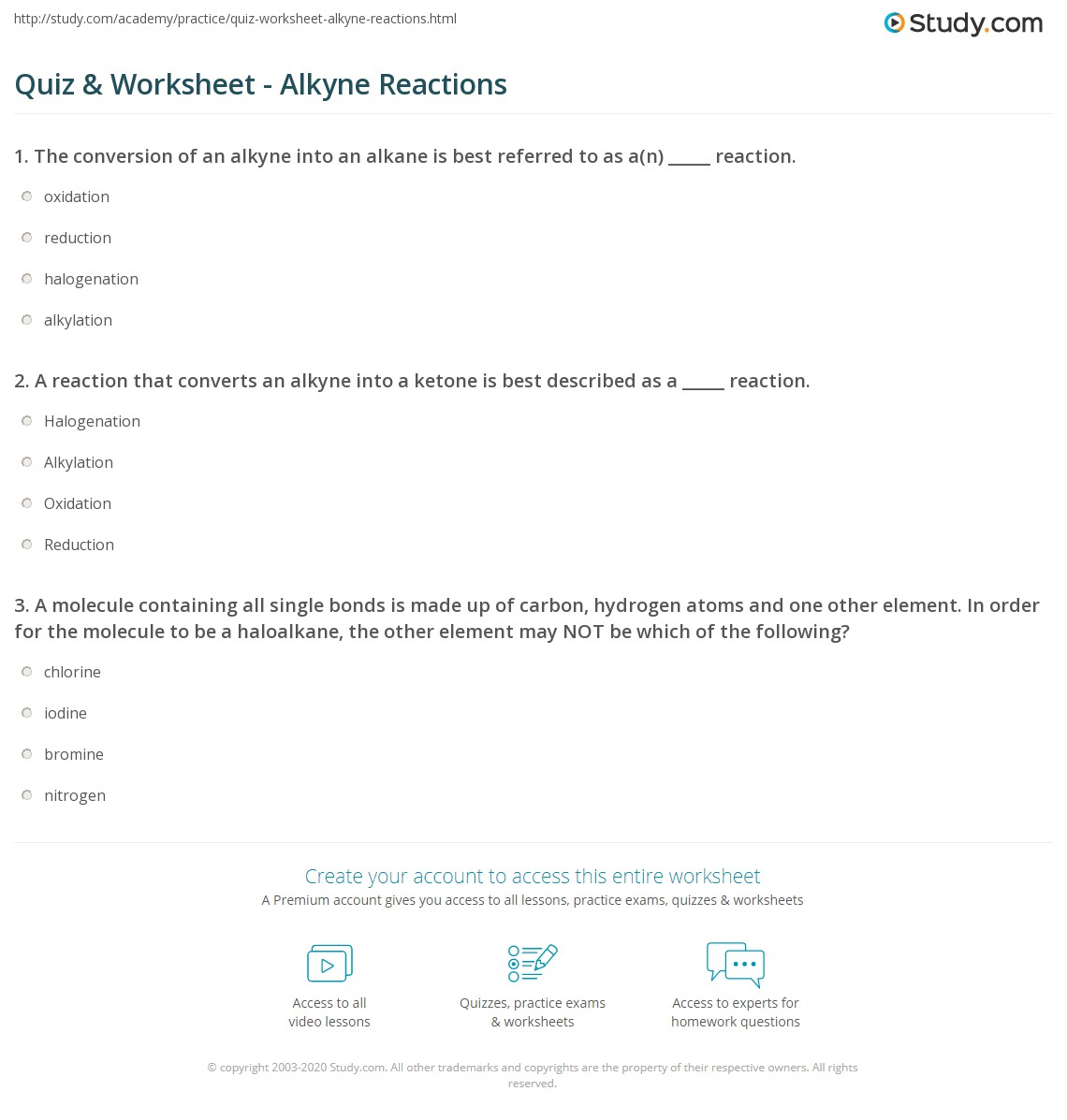 Quiz Worksheet Alkyne Reactions – Precipitation Reactions Worksheet