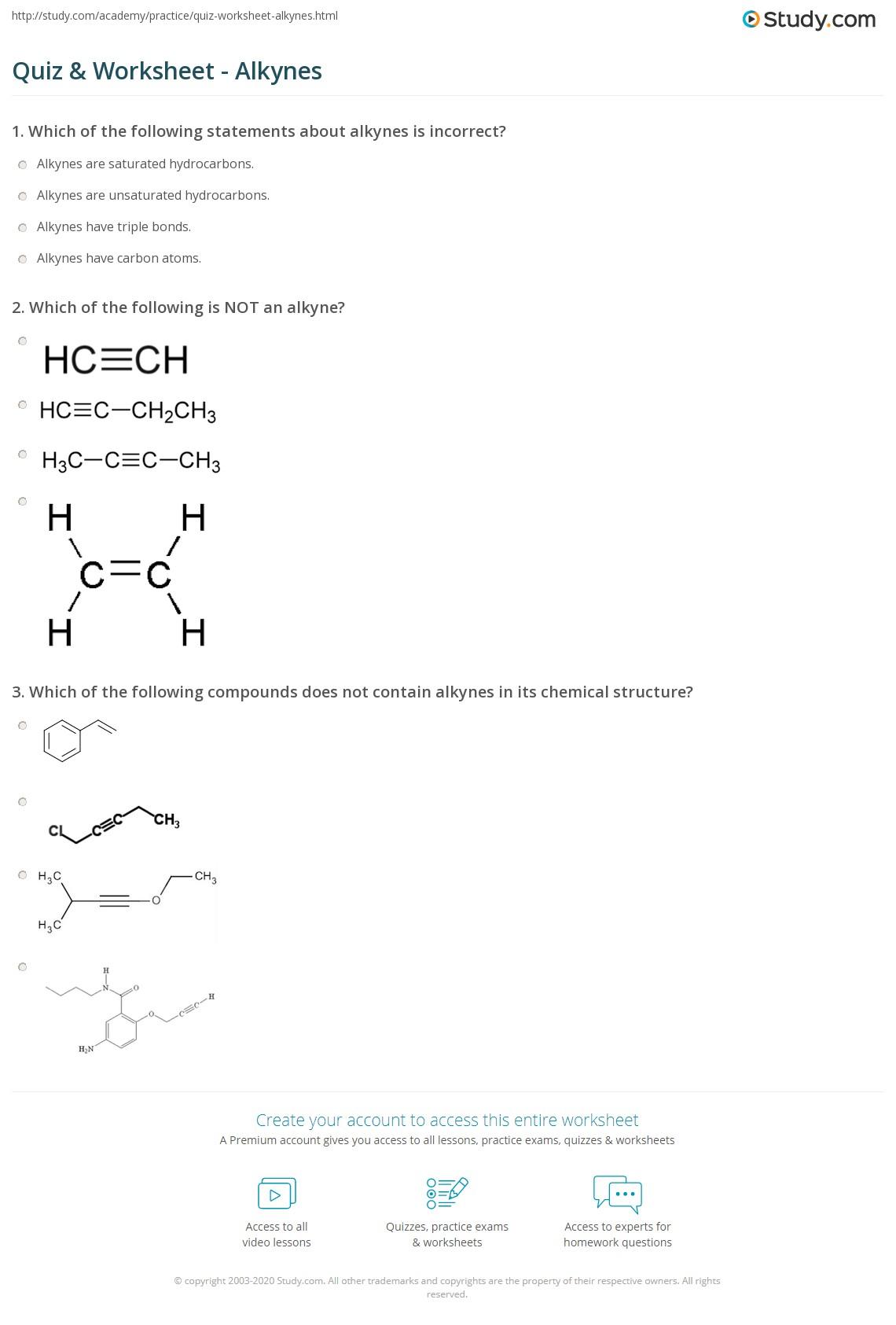 Quiz & Worksheet - Alkynes | Study.com